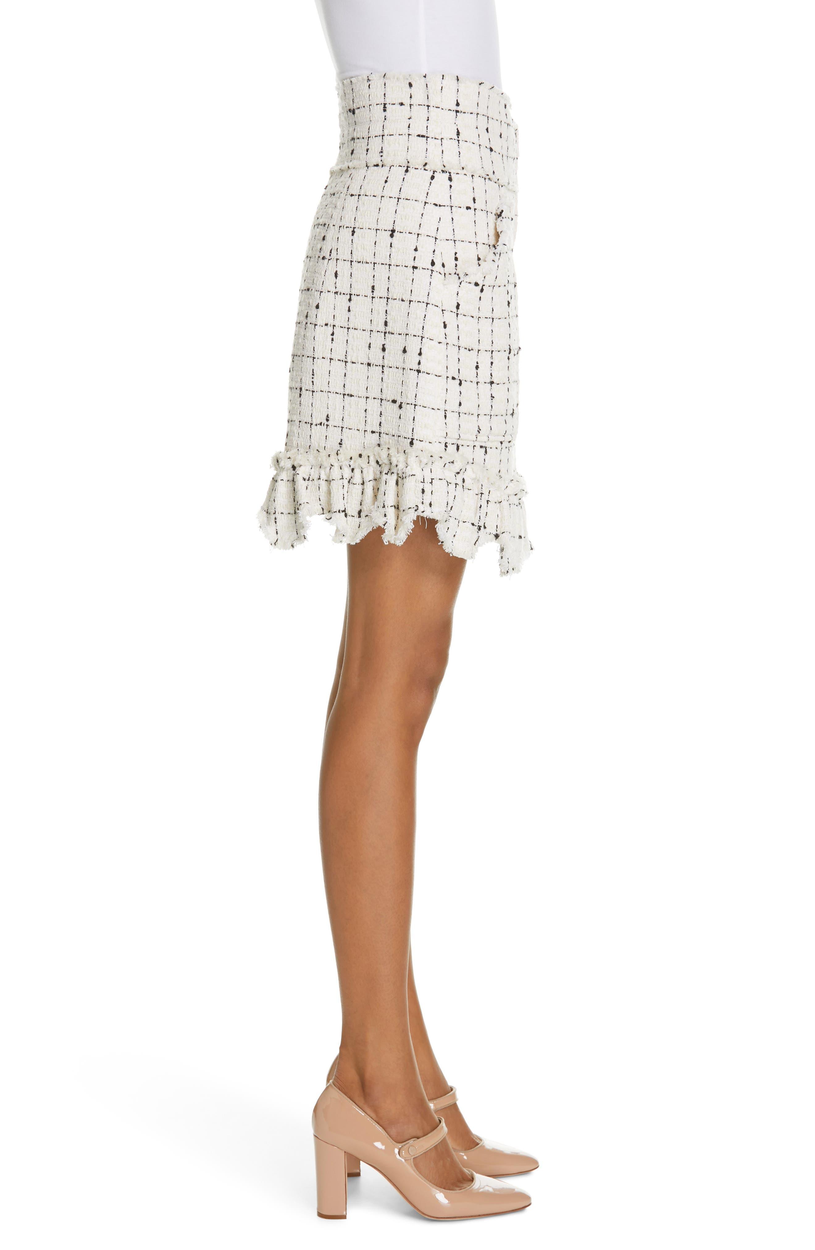 REBECCA TAYLOR, Scallop Hem Tweed Skirt, Alternate thumbnail 3, color, CREAM COMBO