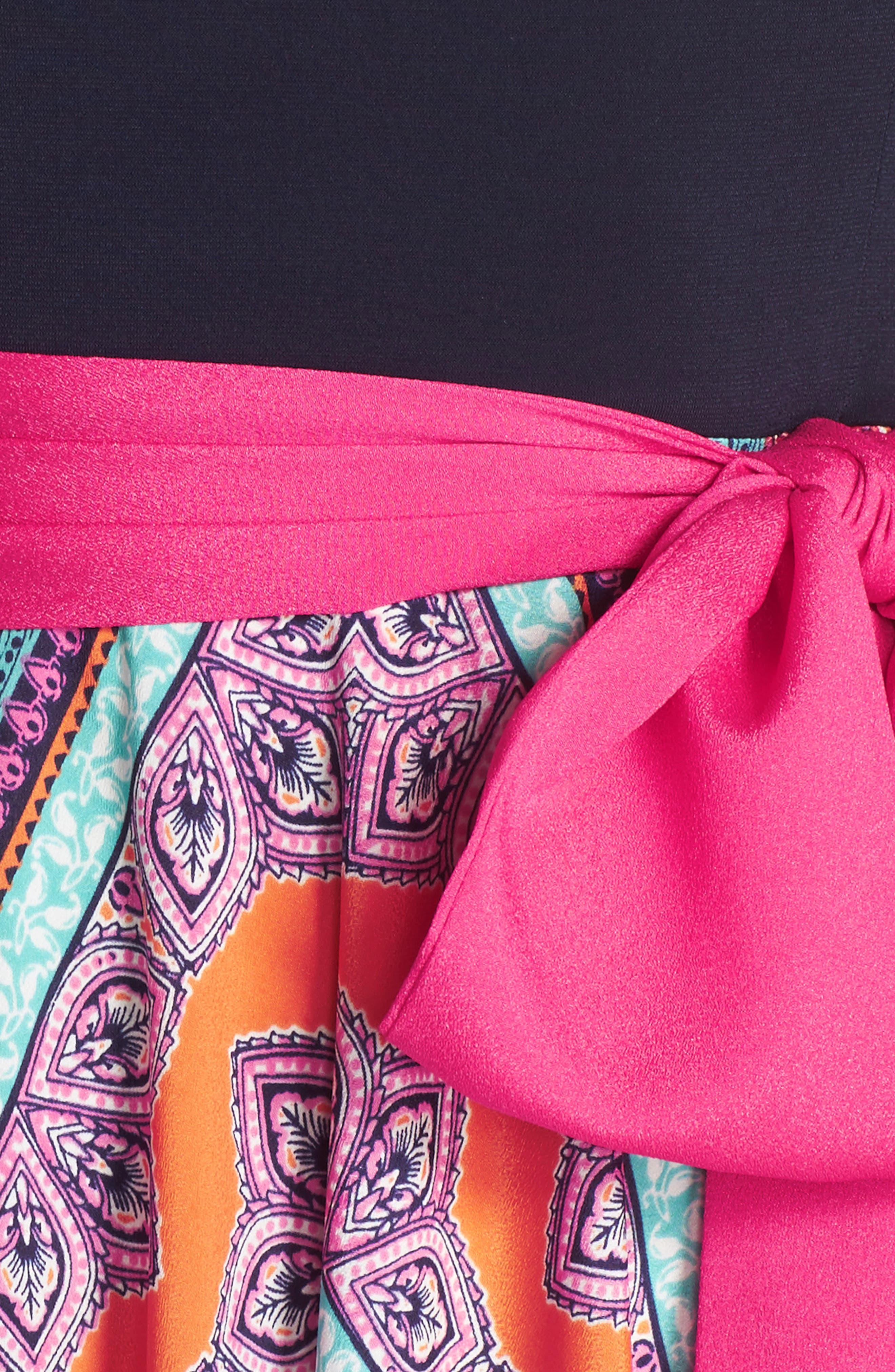 ELIZA J, Scarf Print Jersey & Crêpe de Chine Maxi Dress, Alternate thumbnail 6, color, PINK