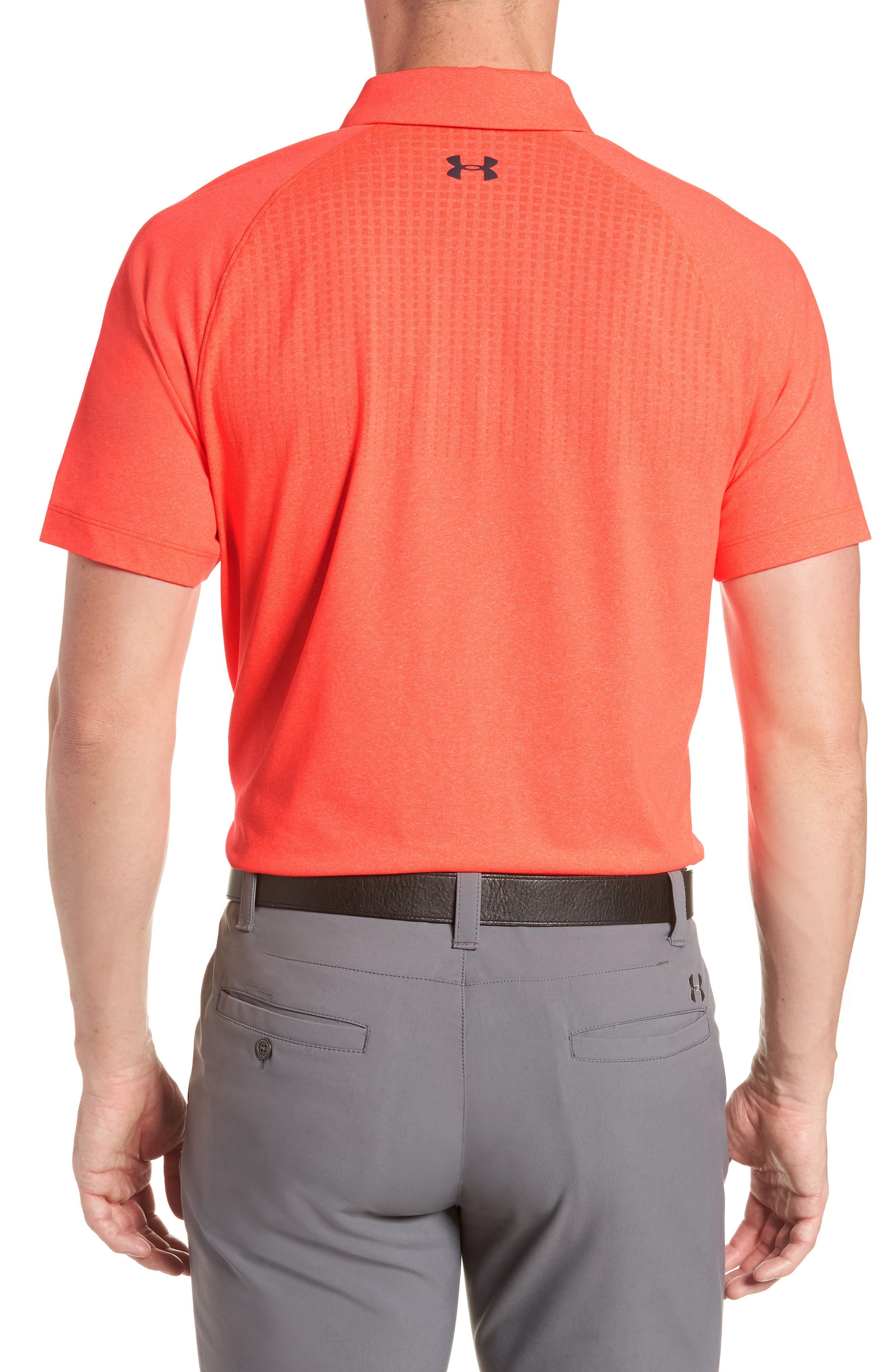 UNDER ARMOUR, Threadborne Outer Glow Regular Fit Polo Shirt, Alternate thumbnail 2, color, NEON CORAL LIGHT/ HEATHER