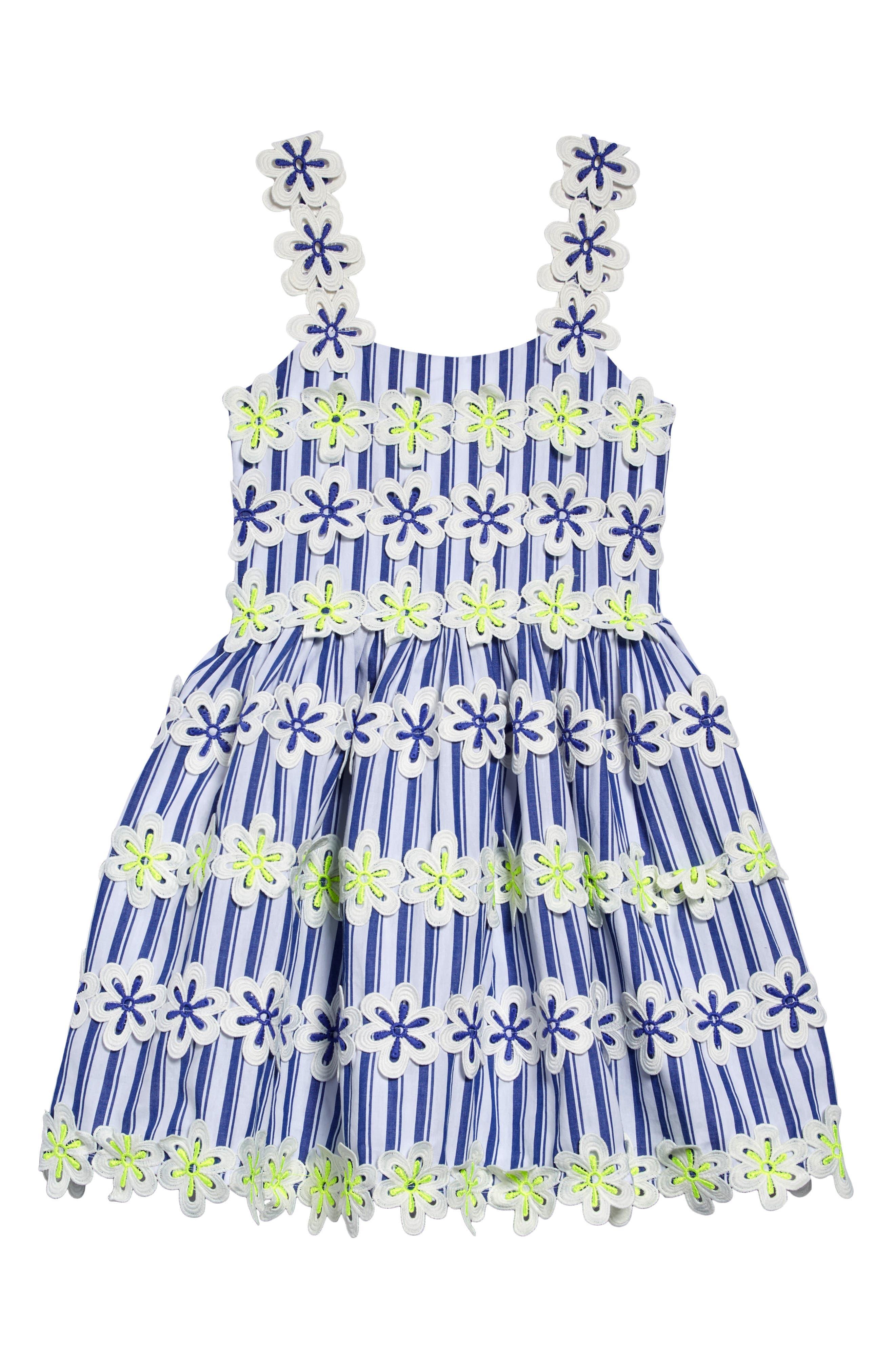 Girls Halabaloo Stripe  Floral Embroidered Fit  Flare Dress Size 4  Blue