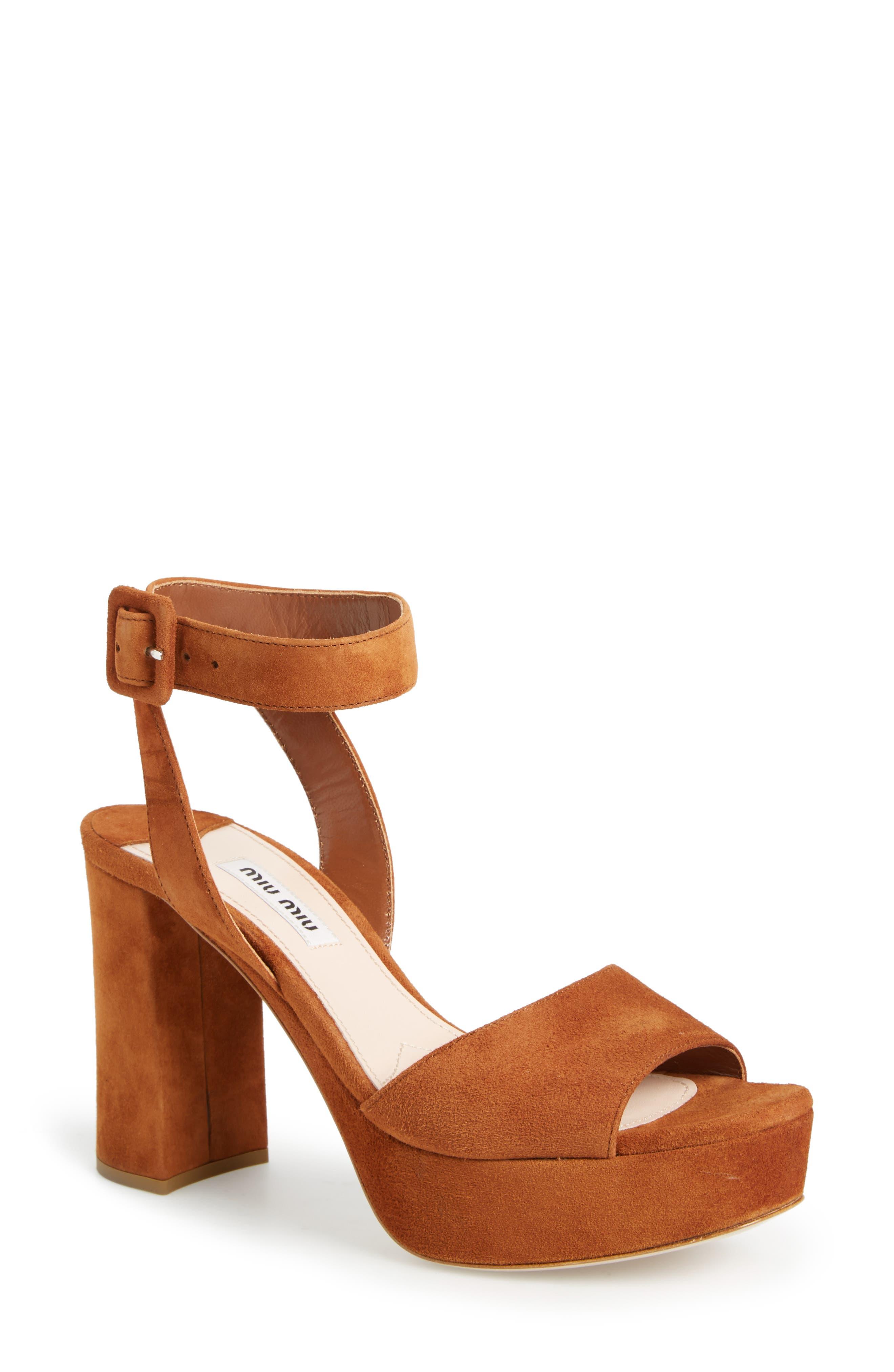 MIU MIU, 'Sandali' Ankle Strap Sandal, Alternate thumbnail 4, color, 200