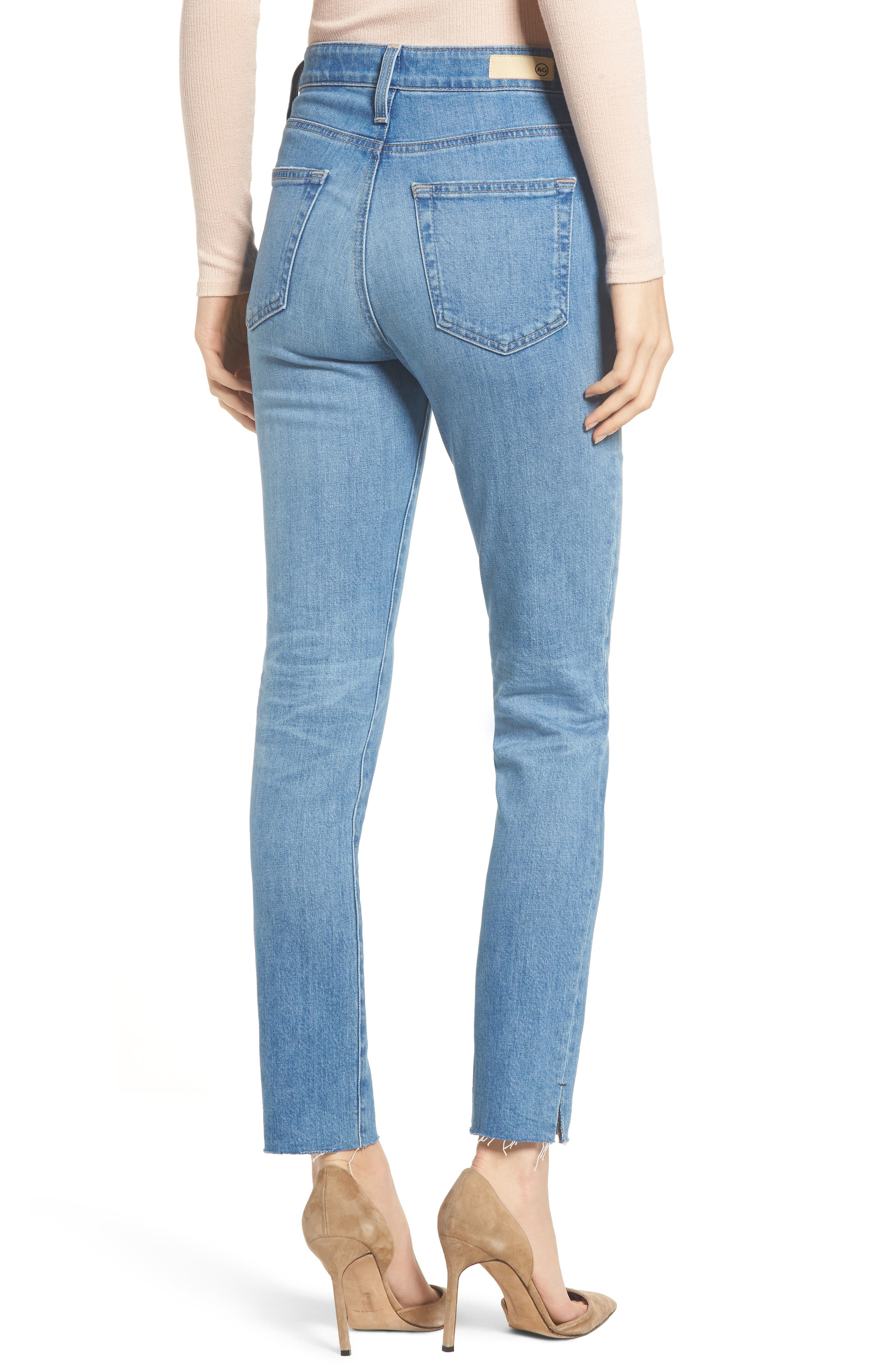 AG, Sophia Raw Hem High Waist Ankle Skinny Jeans, Alternate thumbnail 2, color, 13Y AWESTRUCK