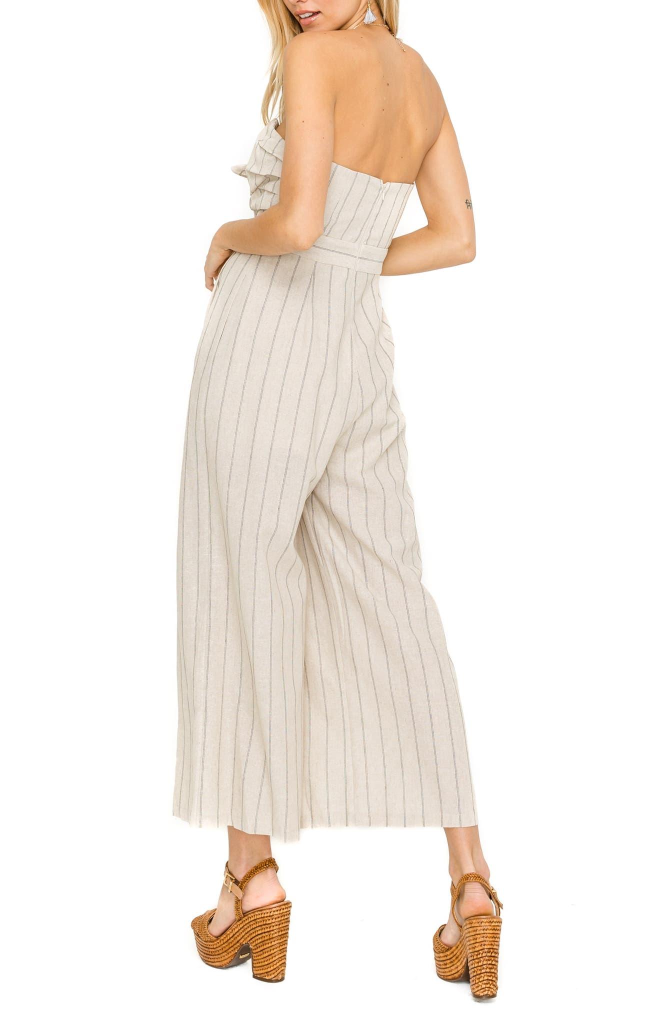 ASTR THE LABEL, Mara Strapless Cotton & Linen Jumpsuit, Alternate thumbnail 2, color, NATURAL/ BLACK STRIPE