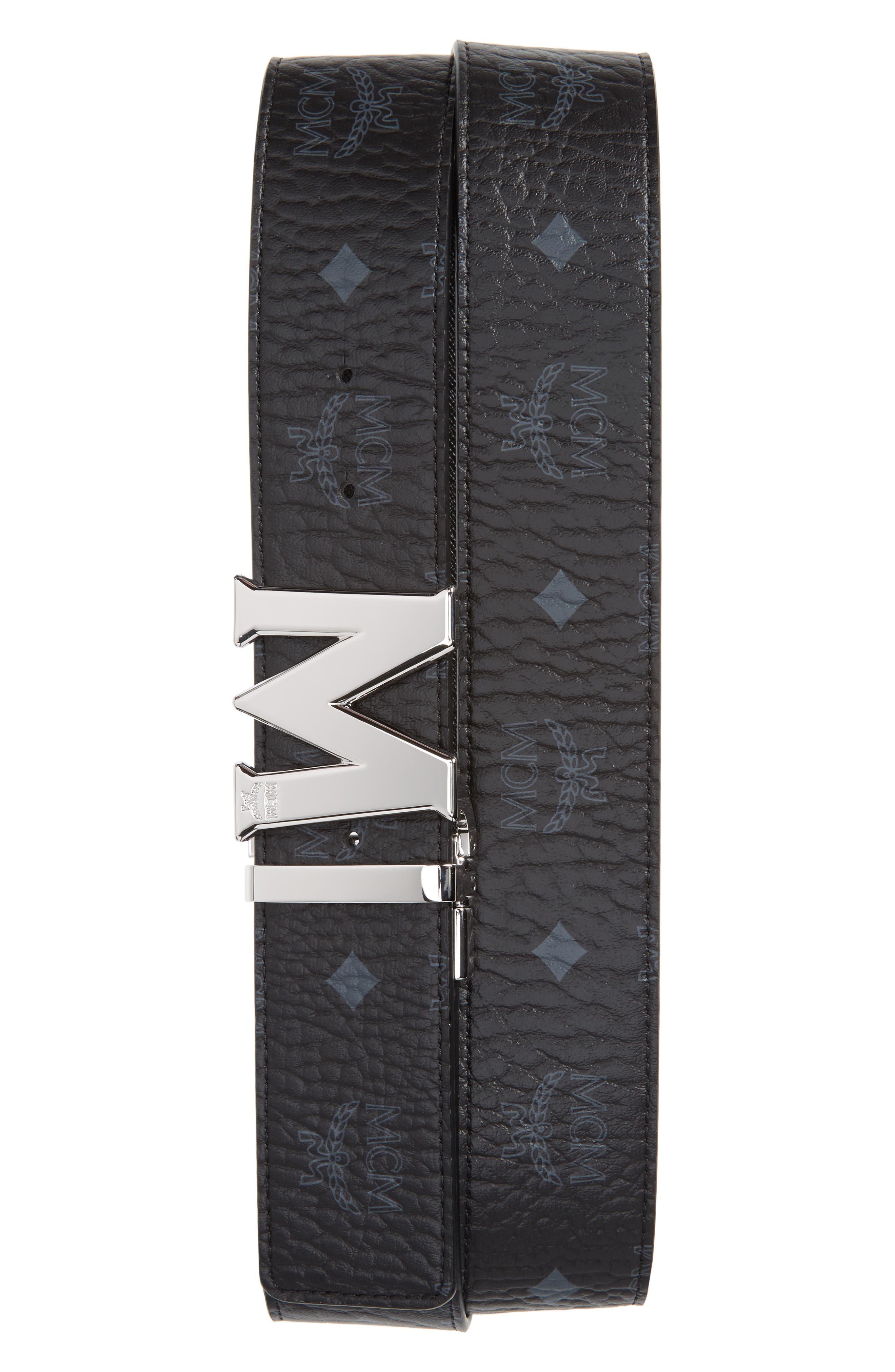 MCM Reversible Signature Leather Belt, Main, color, BLACK