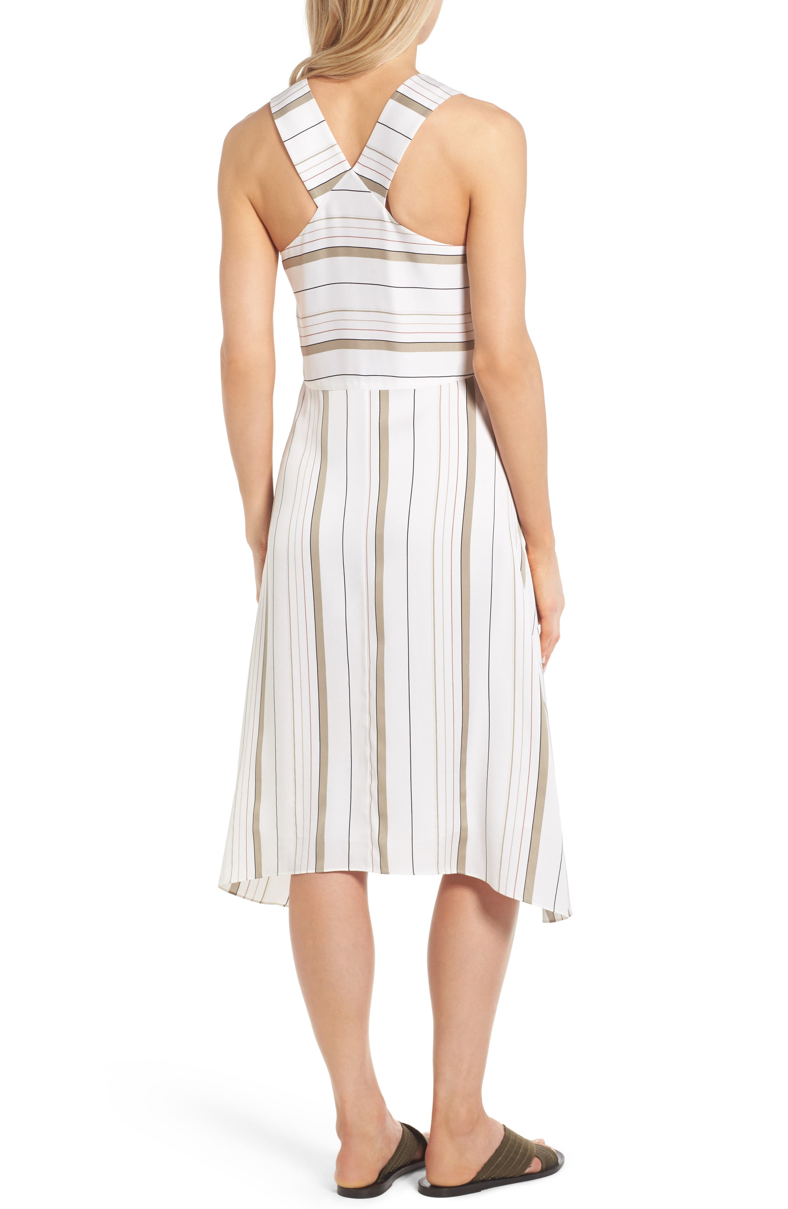 NORDSTROM COLLECTION, Stripe Stretch Silk Dress, Alternate thumbnail 2, color, 900