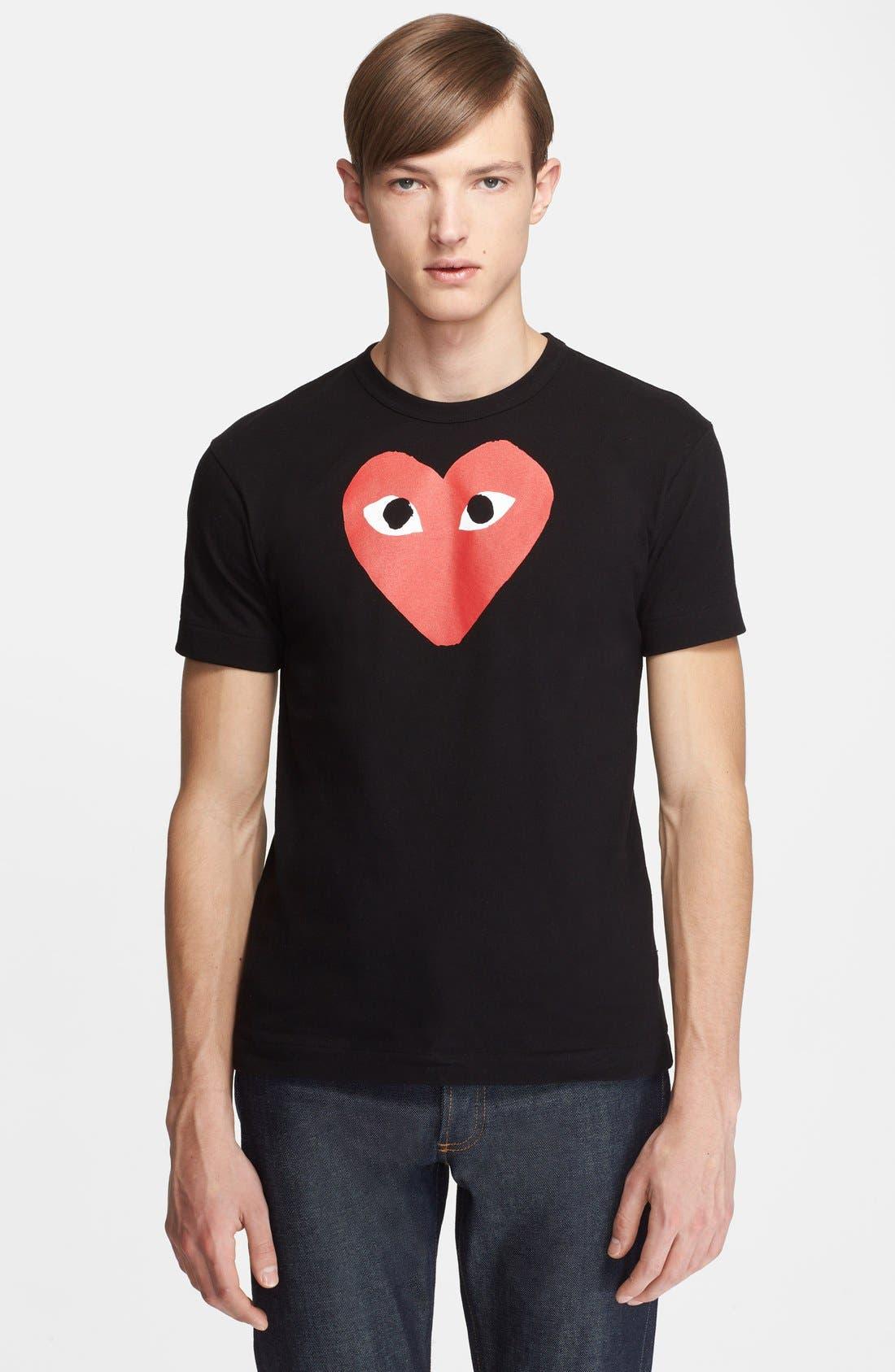 COMME DES GARÇONS PLAY, Heart Graphic T-Shirt, Main thumbnail 1, color, 001