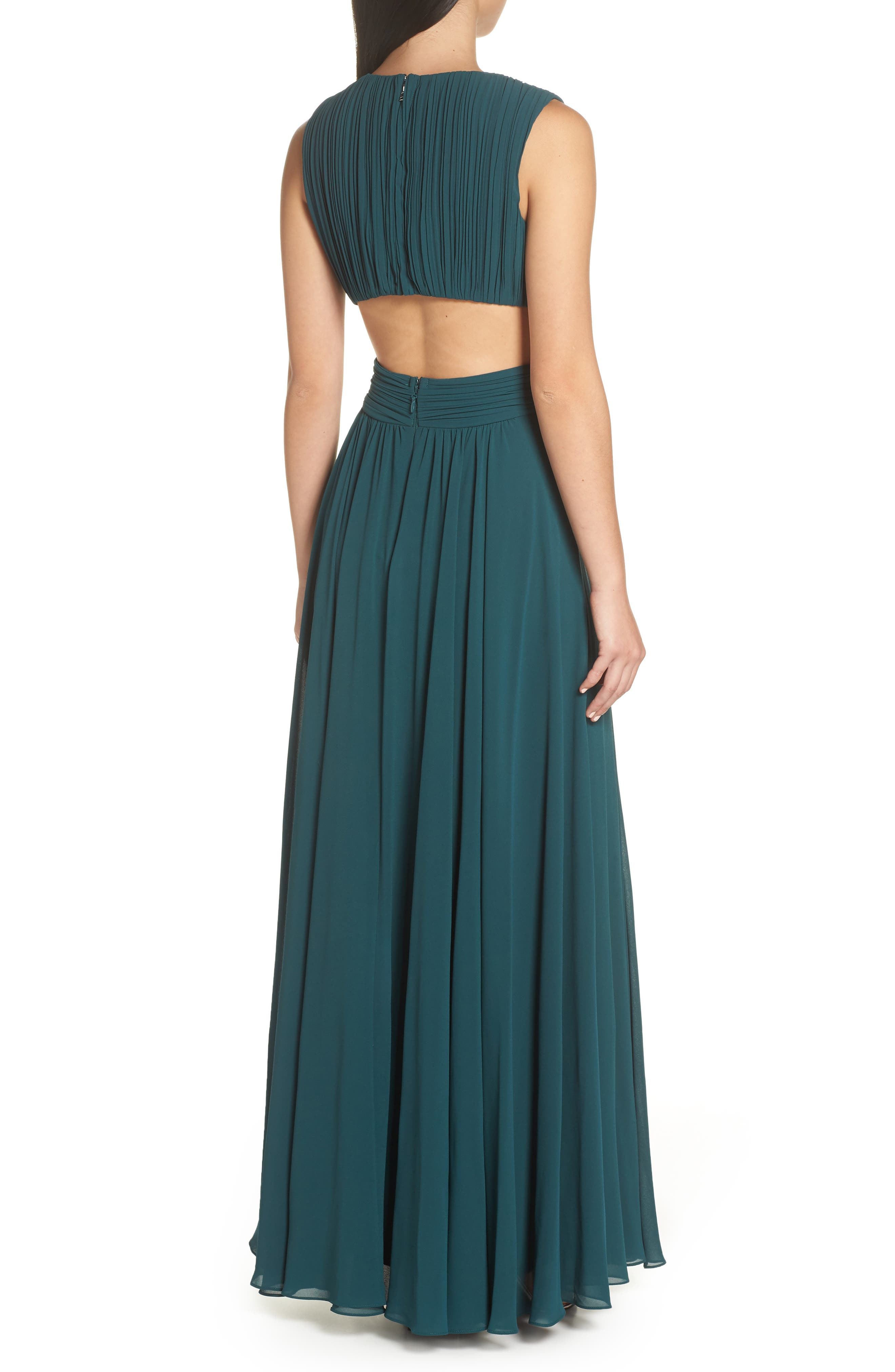 LULUS, Vivid Imagination Chiffon Gown, Alternate thumbnail 2, color, FOREST GREEN