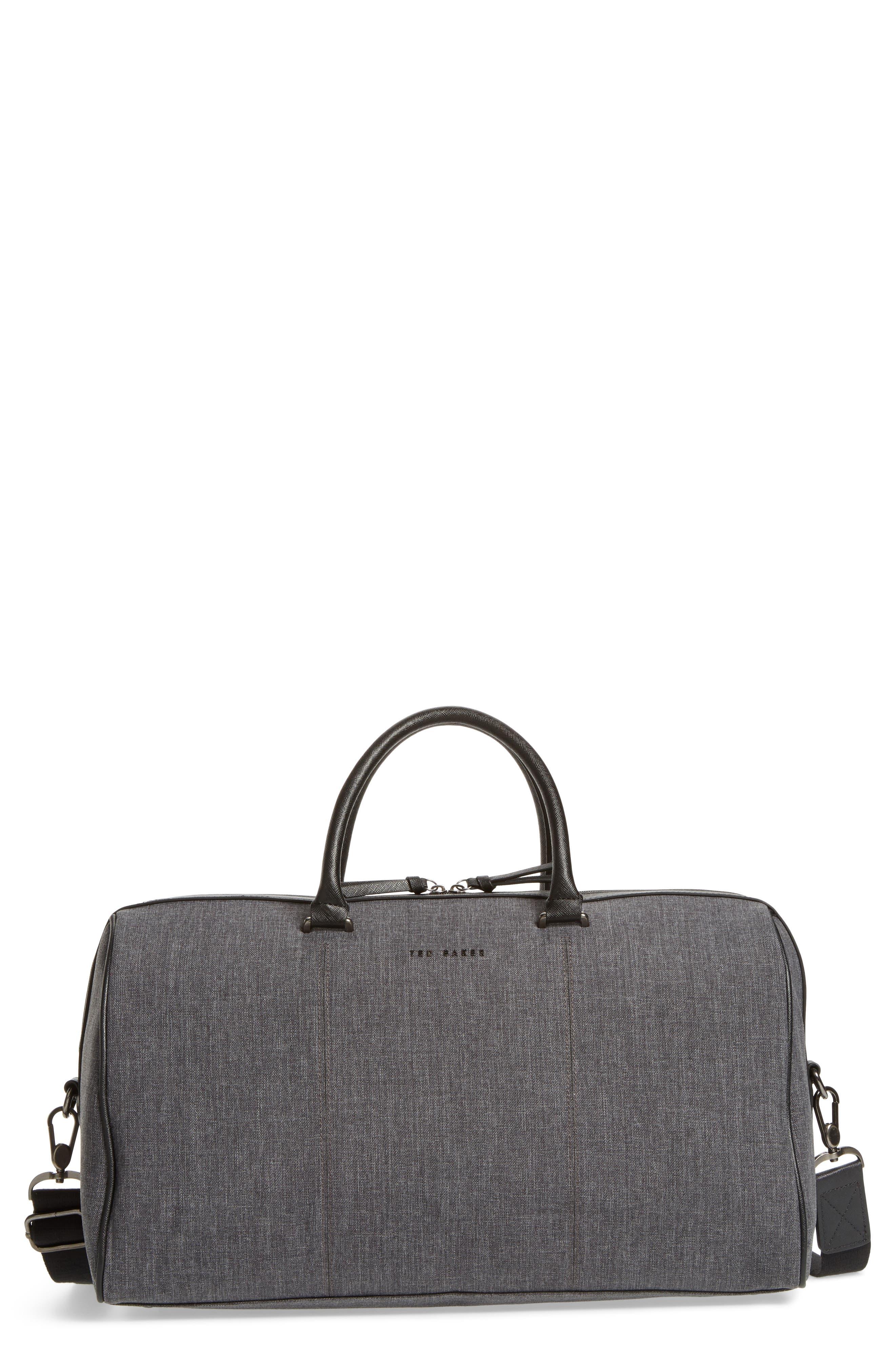 TED BAKER LONDON Caper Duffle Bag, Main, color, CHARCOAL