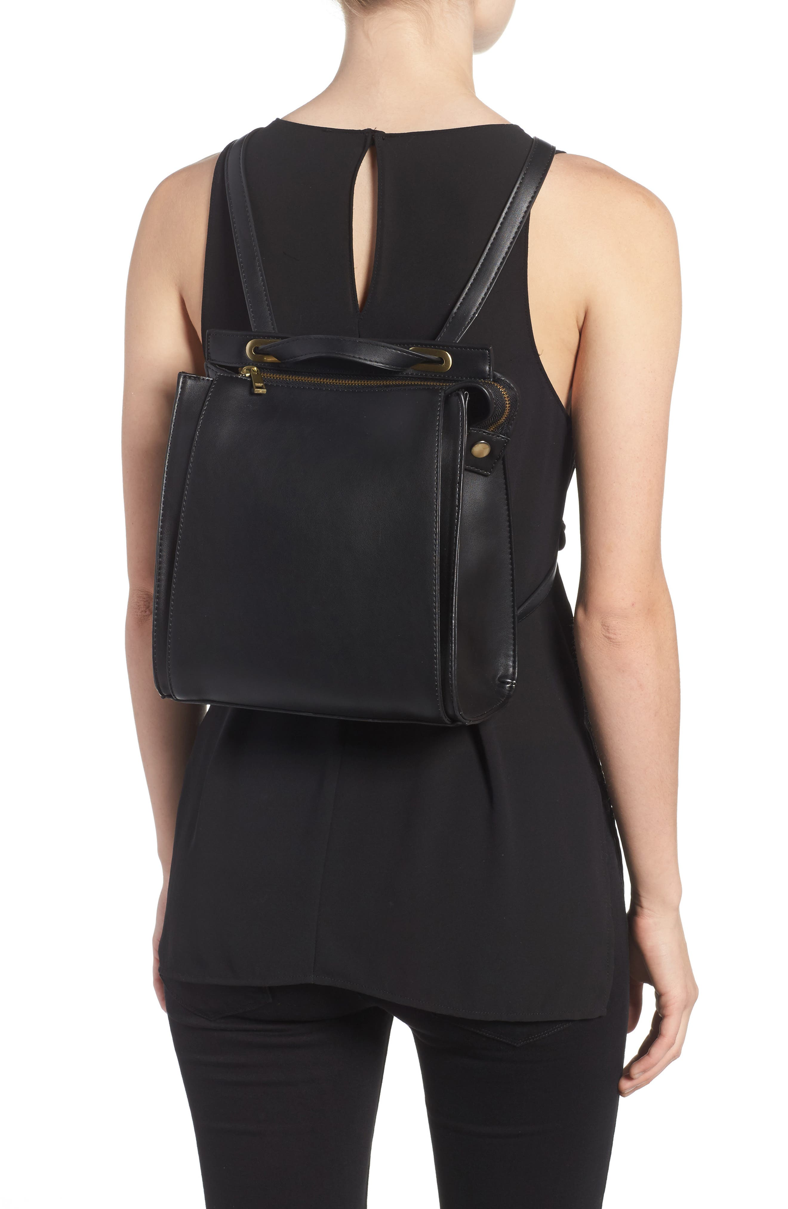 STREET LEVEL, Faux Leather Convertible Backpack, Alternate thumbnail 2, color, 002