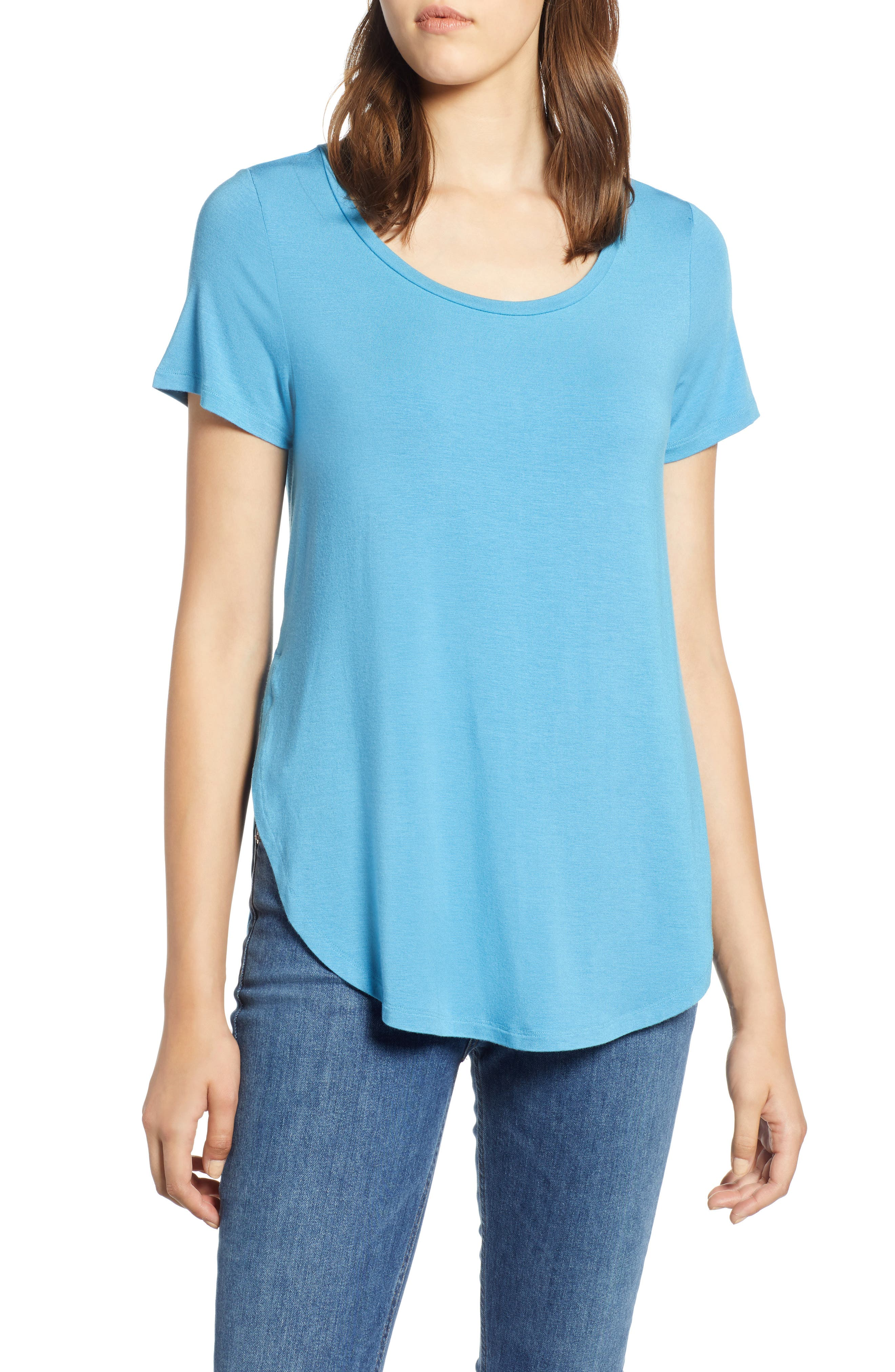 HALOGEN<SUP>®</SUP> Short Sleeve Shirttail Tee, Main, color, BLUE CENDRE