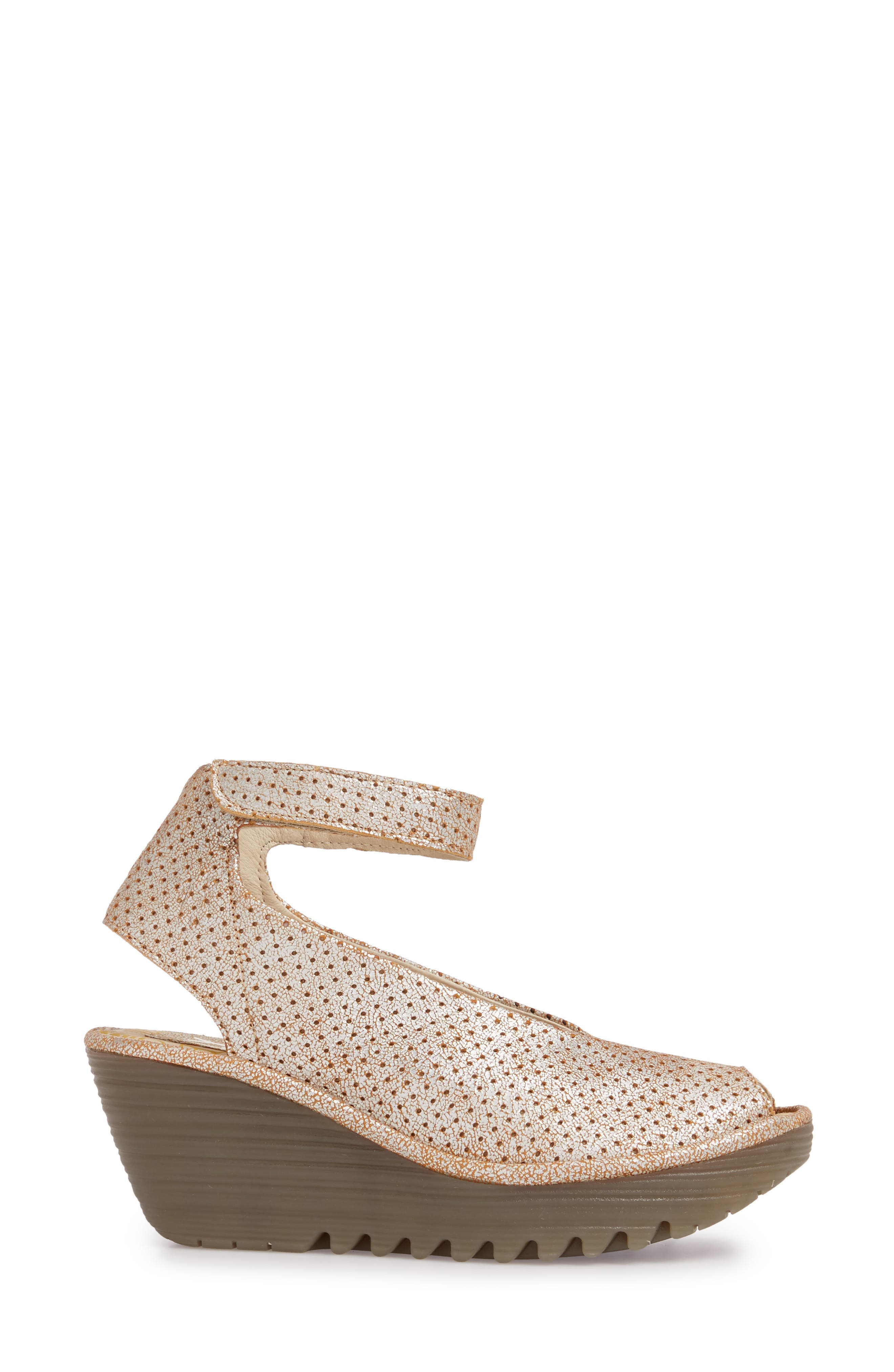 FLY LONDON, 'Yala' Perforated Leather Sandal, Alternate thumbnail 3, color, PEARL COOL LEATHER