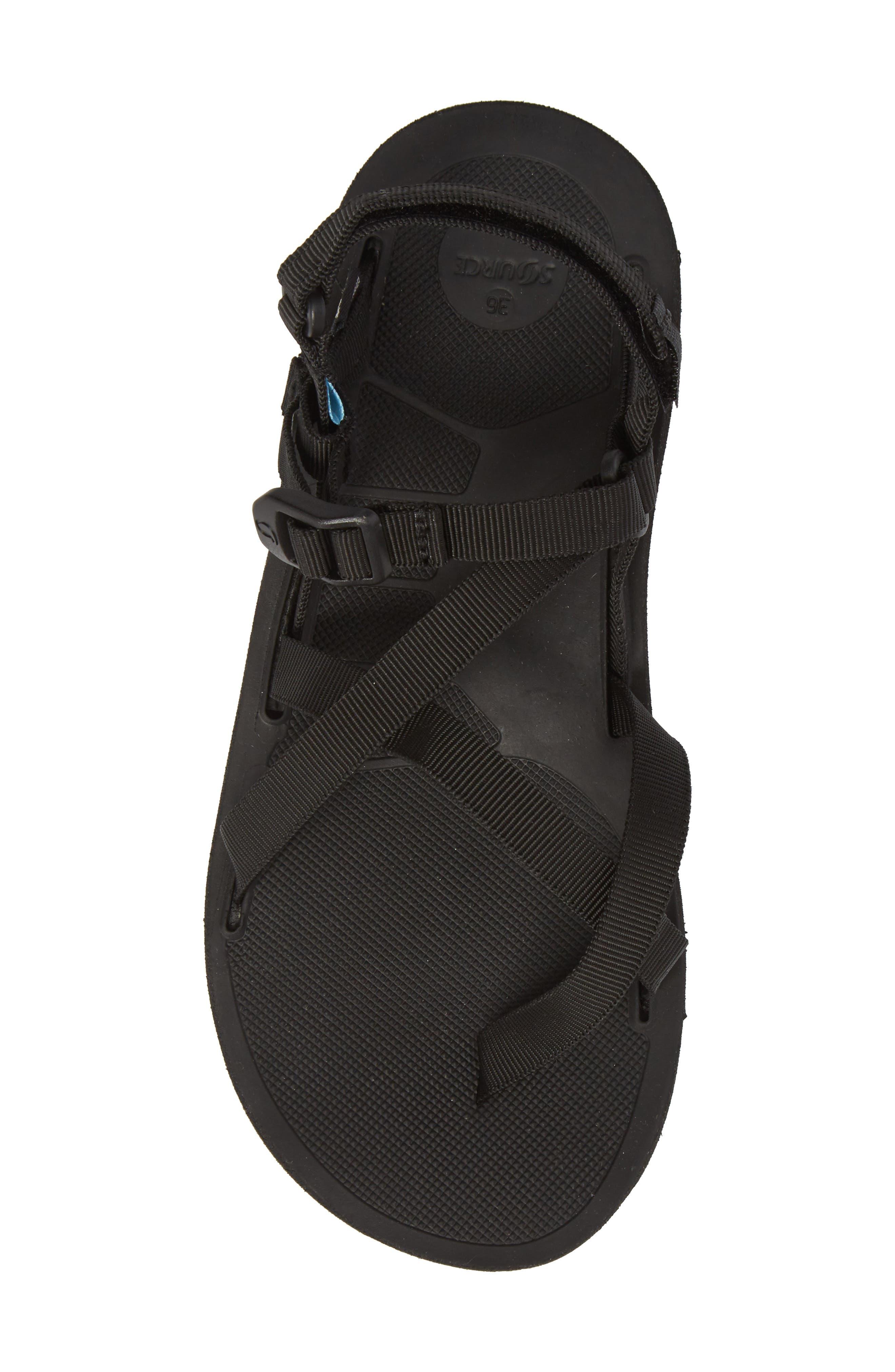 NAOT, Shore Sandal, Alternate thumbnail 5, color, BLACK FABRIC