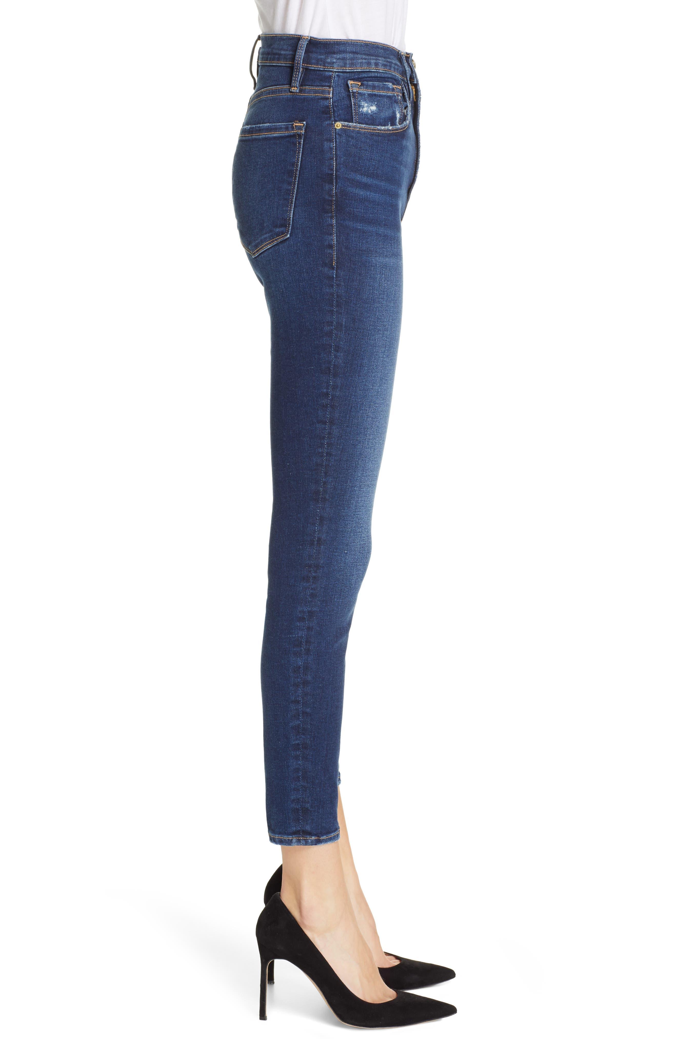 FRAME, Ali High Waist Crop Cigarette Skinny Jeans, Alternate thumbnail 3, color, MANO