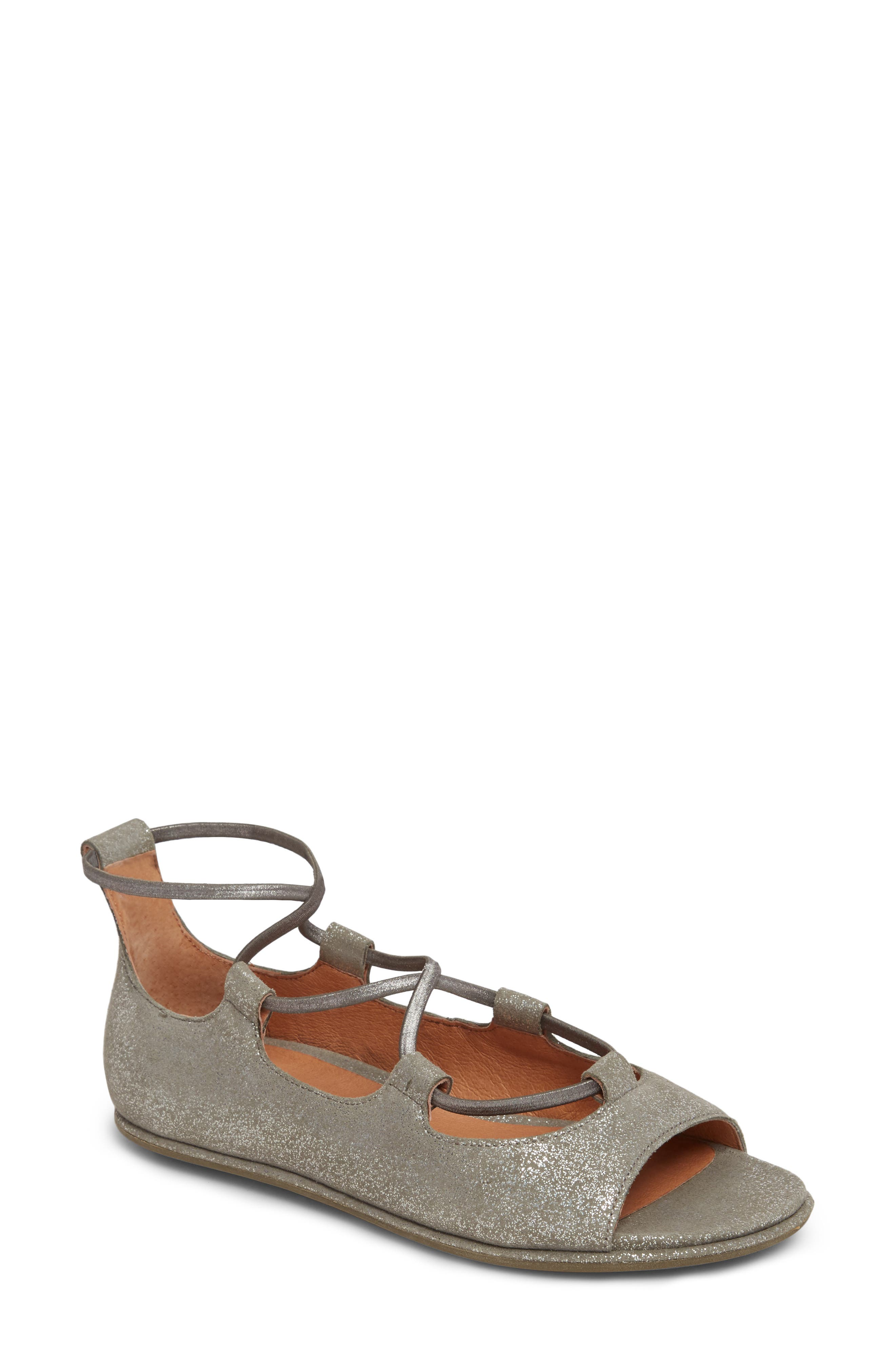 GENTLE SOULS BY KENNETH COLE Lark Sandal, Main, color, LIGHT PEWTER METALLIC LEATHER