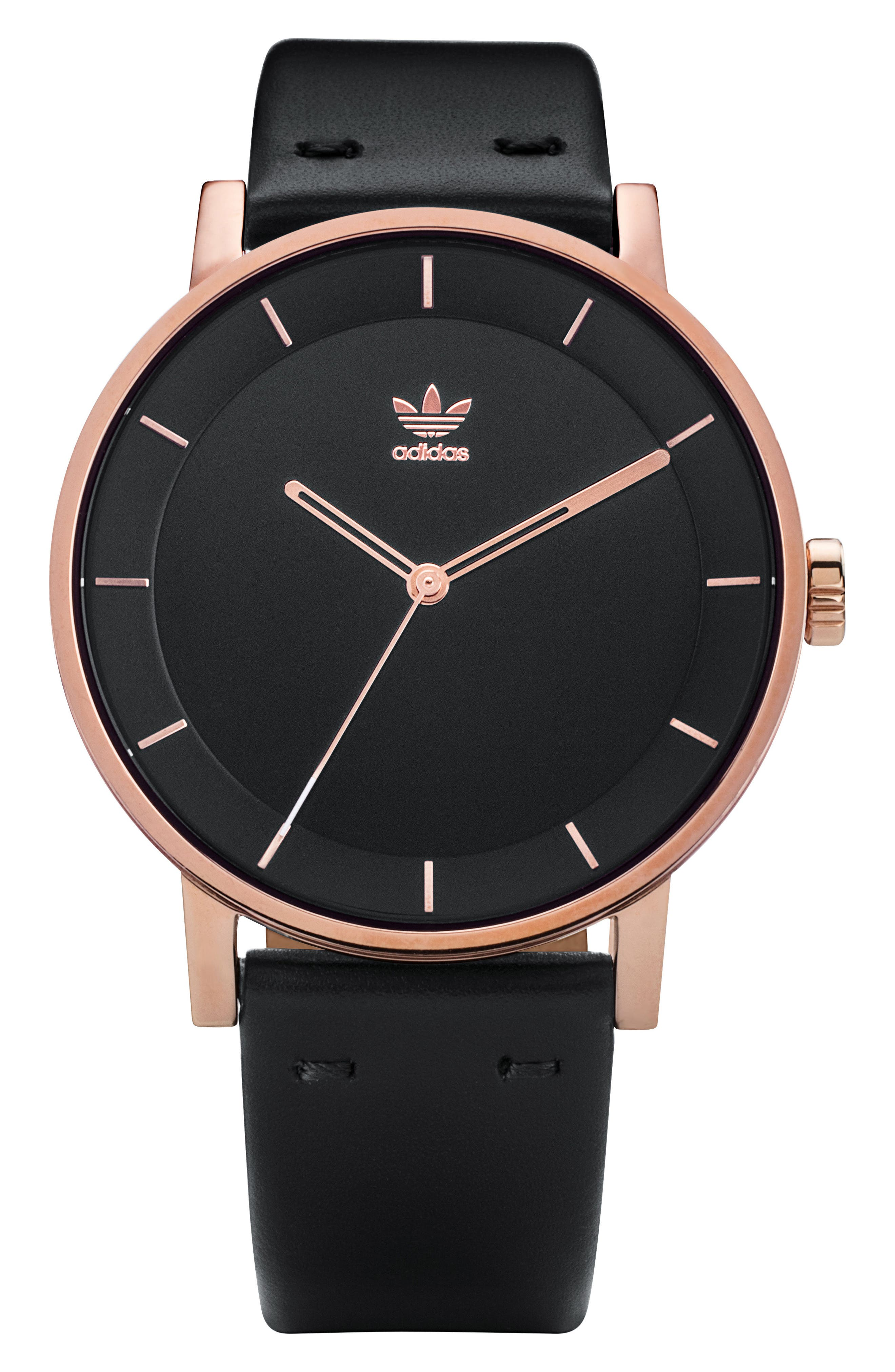 ADIDAS District Leather Strap Watch, 40mm, Main, color, ROSE GOLD