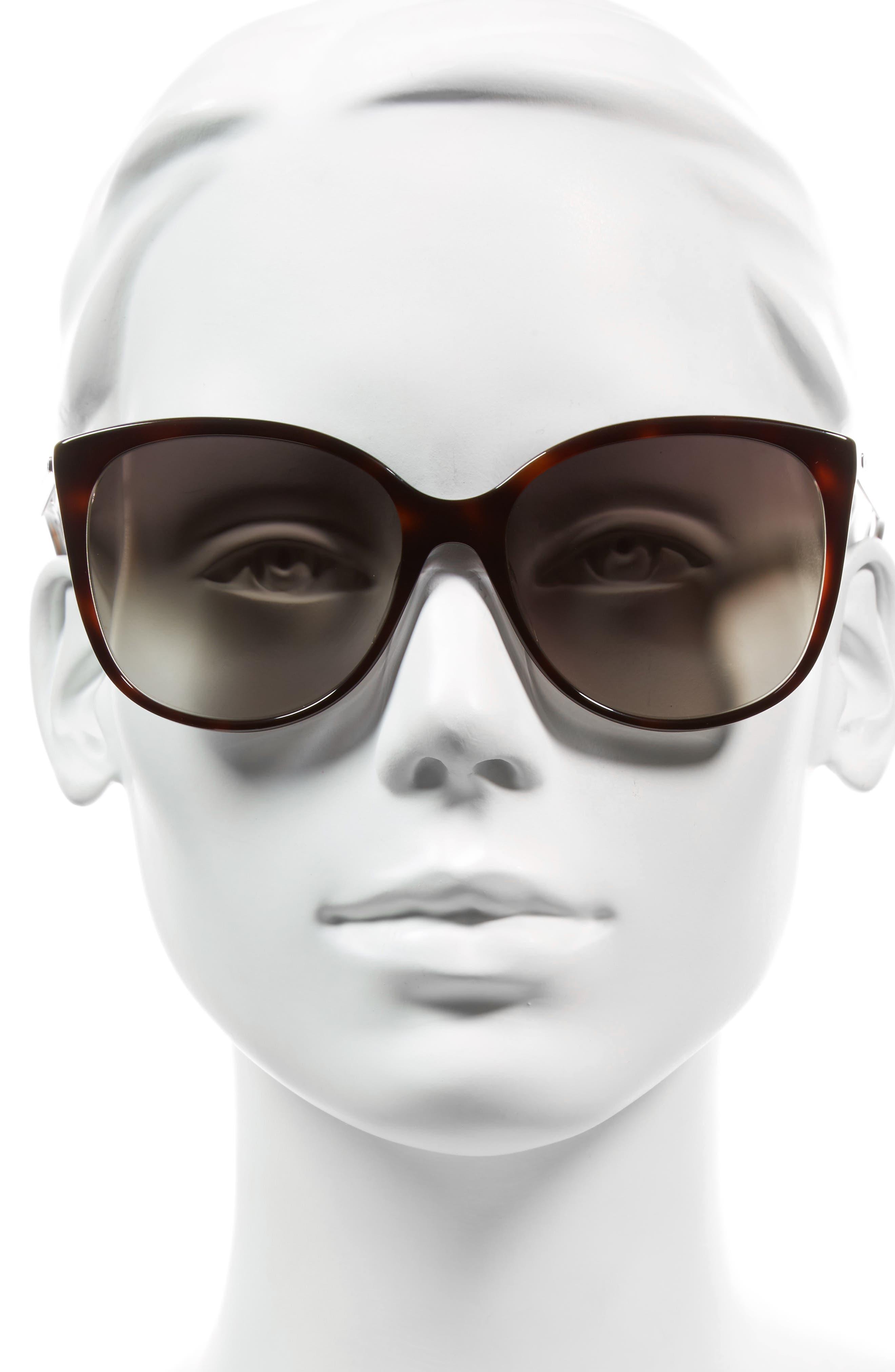 MARC JACOBS, 56mm Gradient Lens Butterfly Sunglasses, Alternate thumbnail 2, color, DARK HAVANA