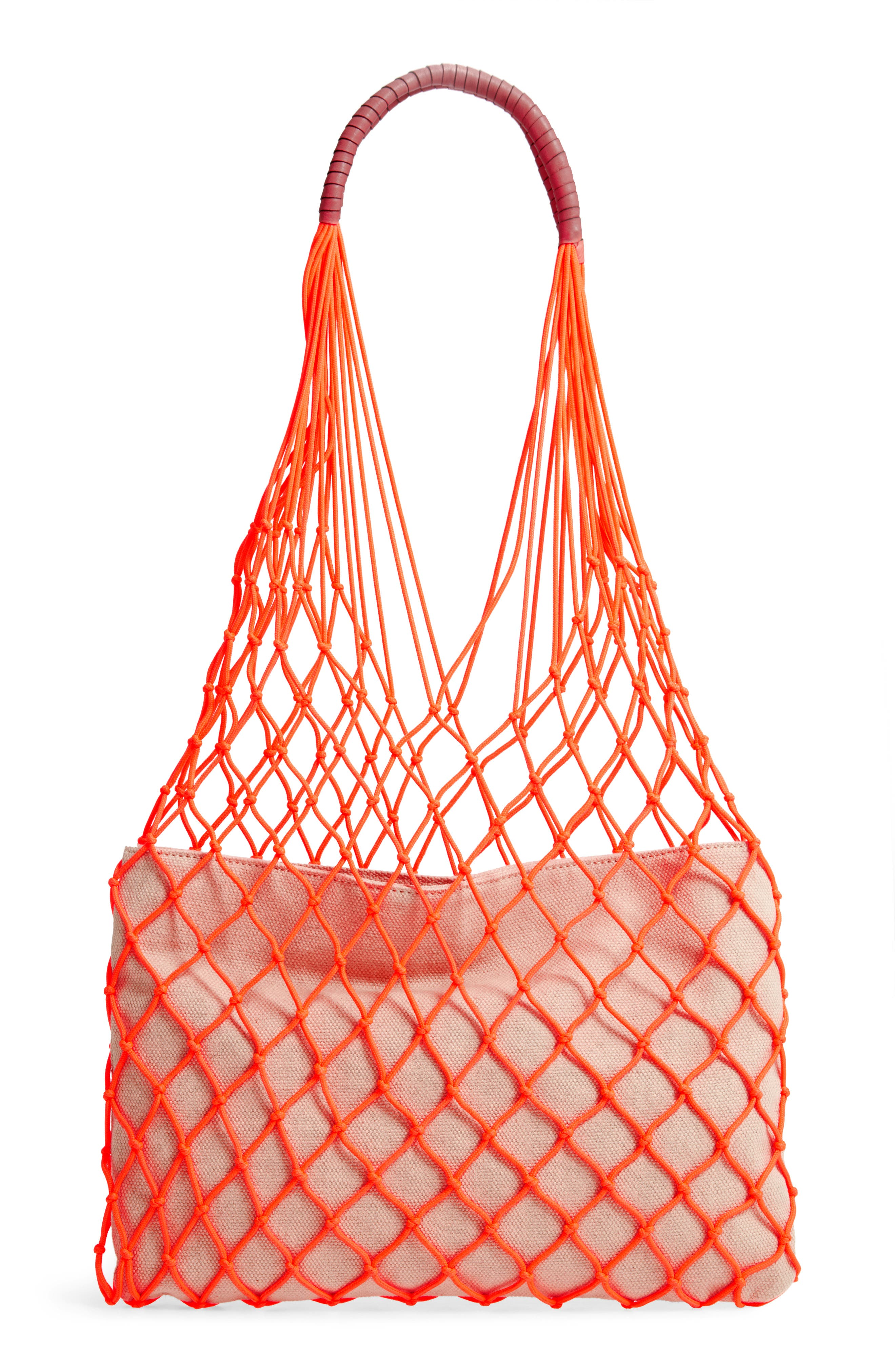VINCE CAMUTO Zest Tote, Main, color, FIERY CORAL
