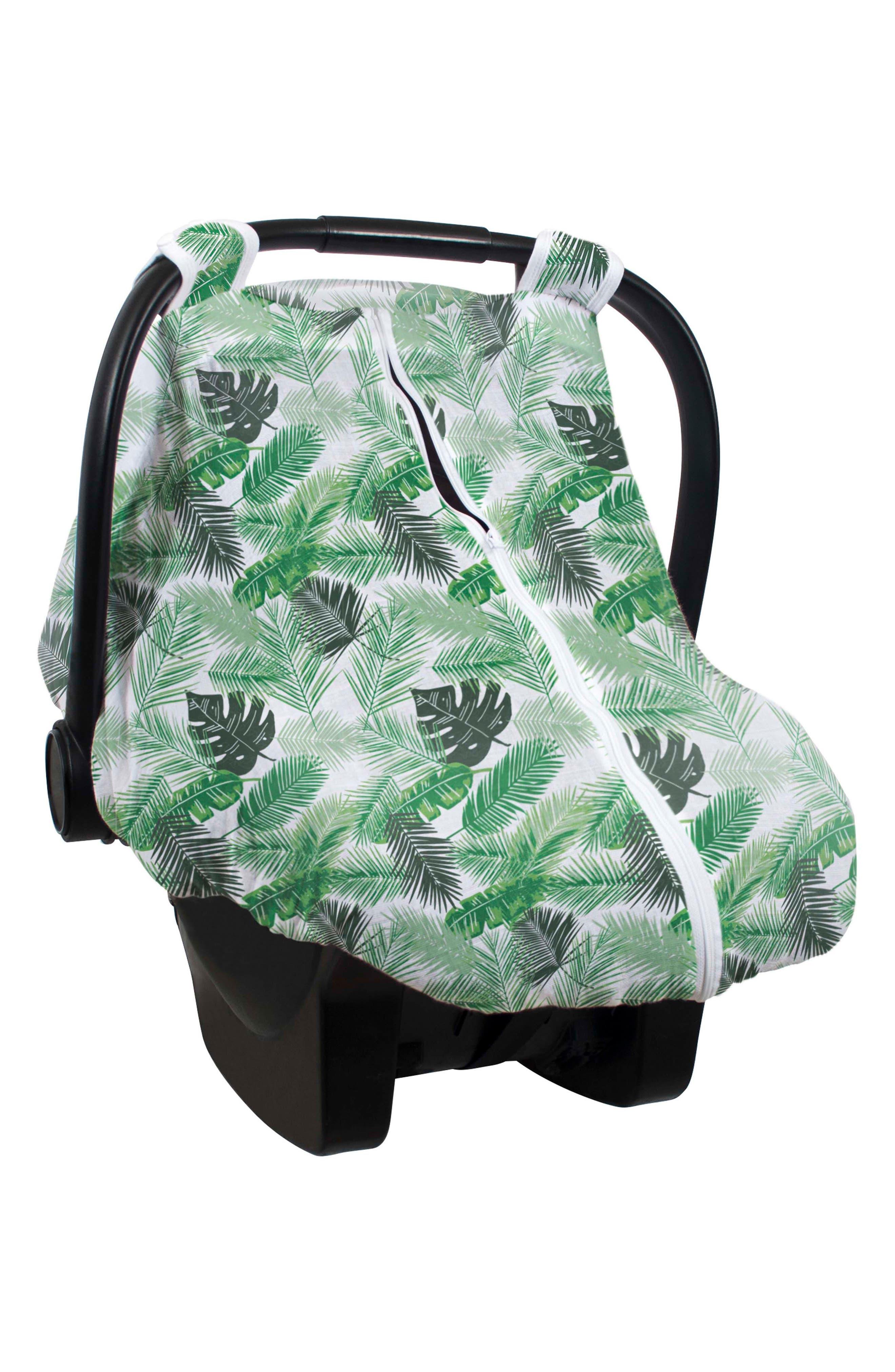 BÉBÉ AU LAIT, Cotton Muslin Car Seat Cover & Swaddles Set, Alternate thumbnail 3, color, RIO & PALMS