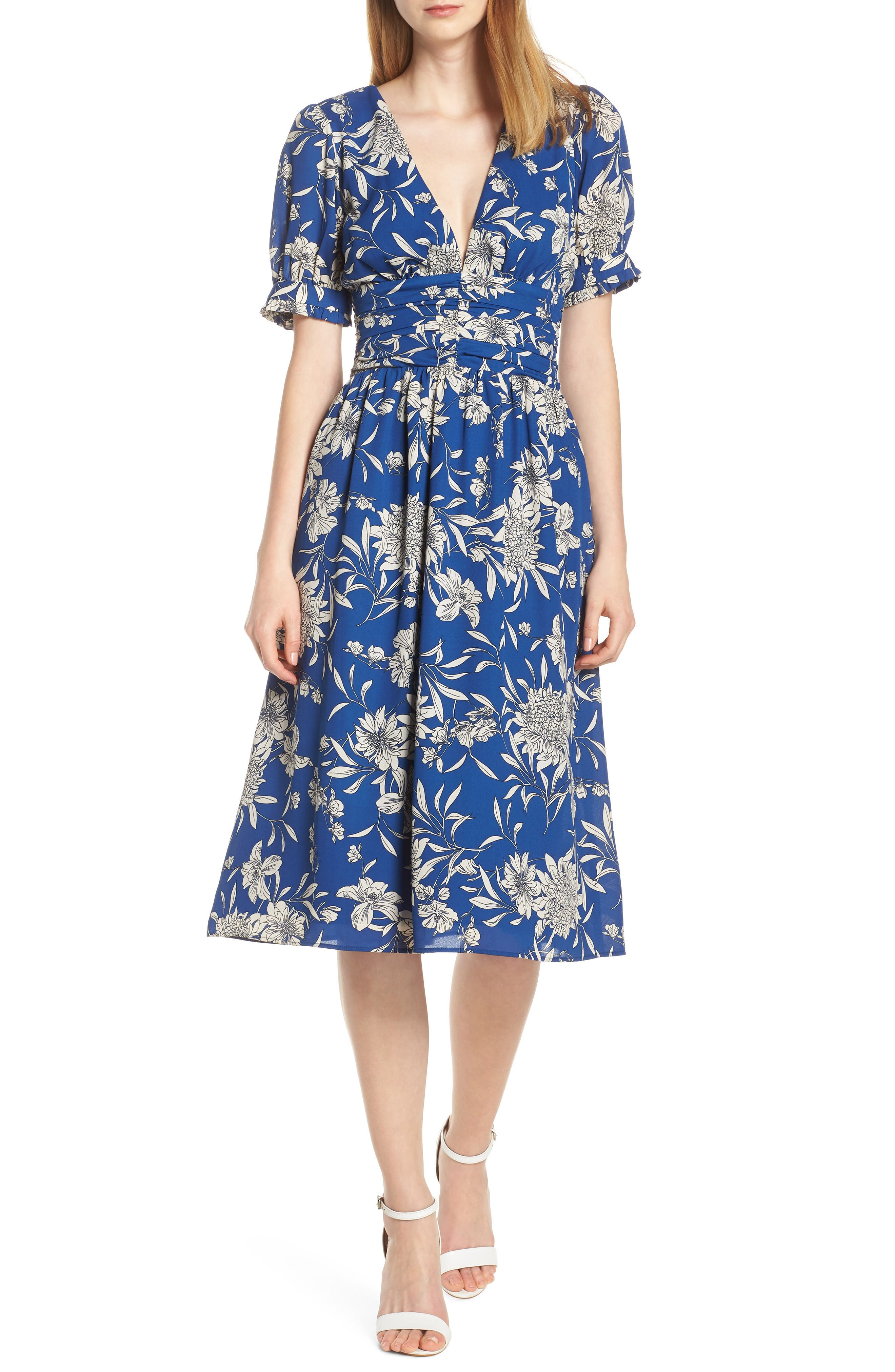 19 COOPER, Shirred Waist Midi Dress, Main thumbnail 1, color, BLUE/ WHITE