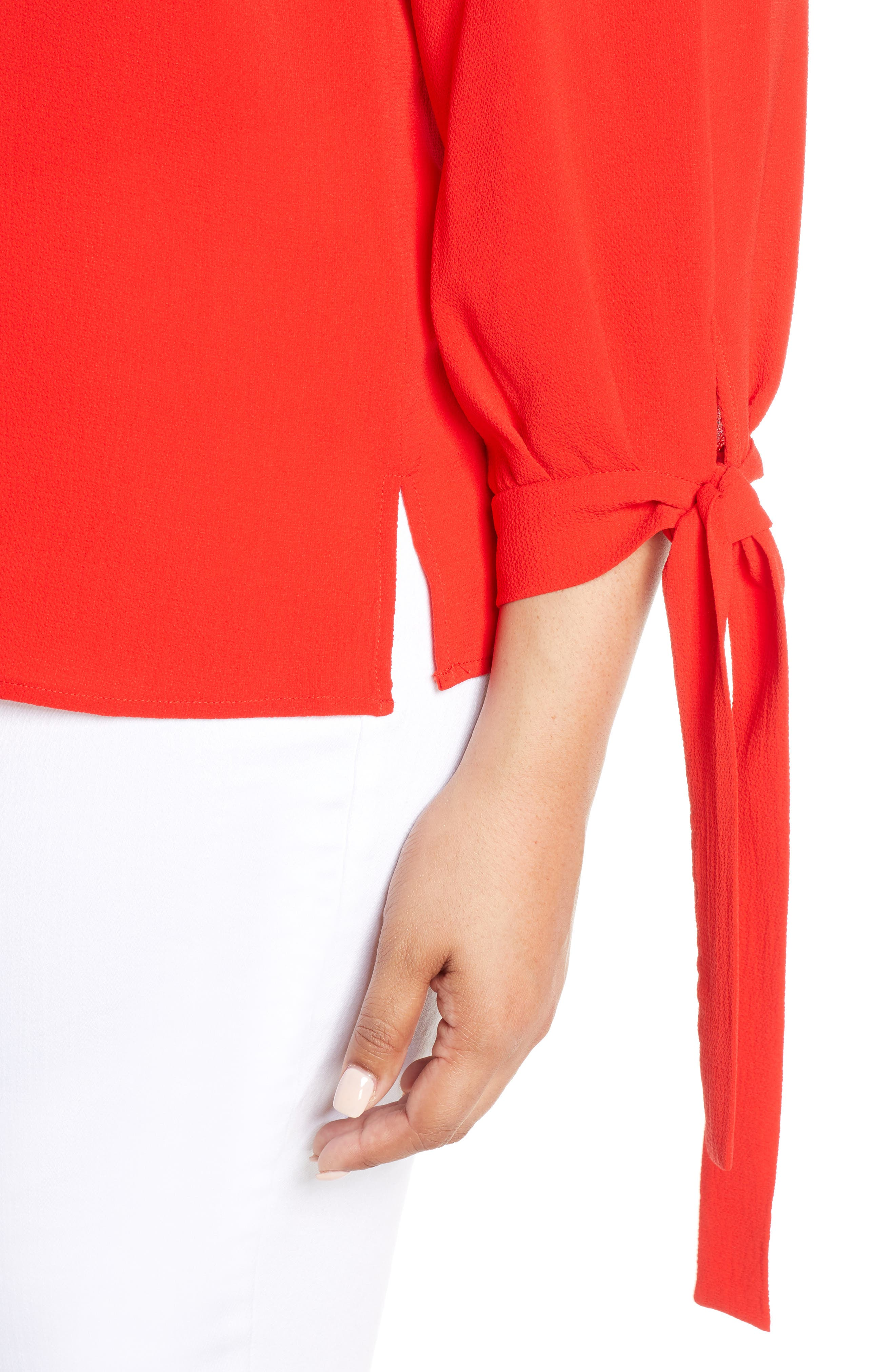 CECE, Tie Sleeve Blouse, Alternate thumbnail 4, color, SCARLET GLOW