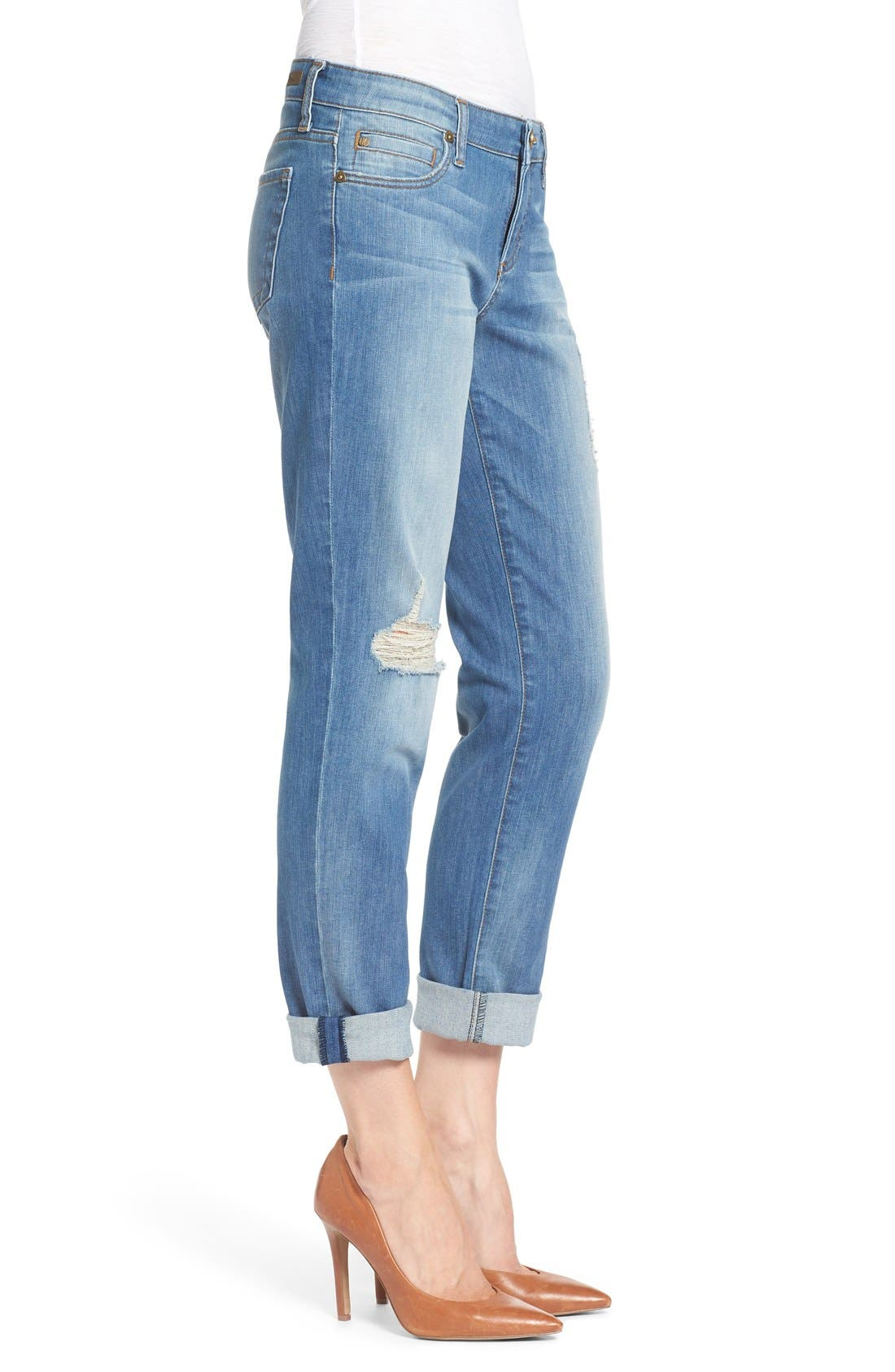KUT FROM THE KLOTH, 'Catherine' Distressed Stretch Boyfriend Jeans, Alternate thumbnail 3, color, 401