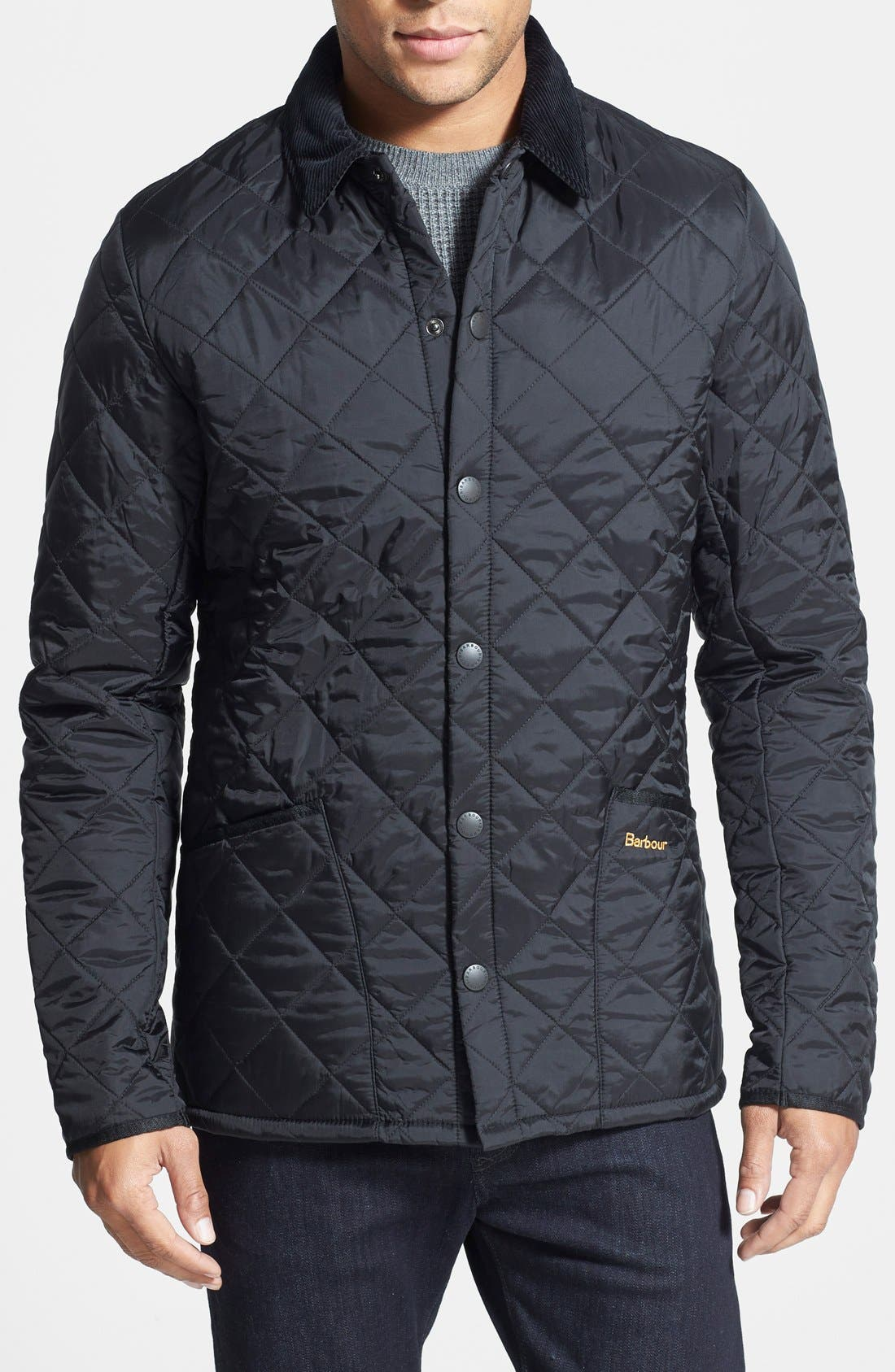 BARBOUR, Heritage Liddesdale Regular Fit Quilted Jacket, Main thumbnail 1, color, BLACK