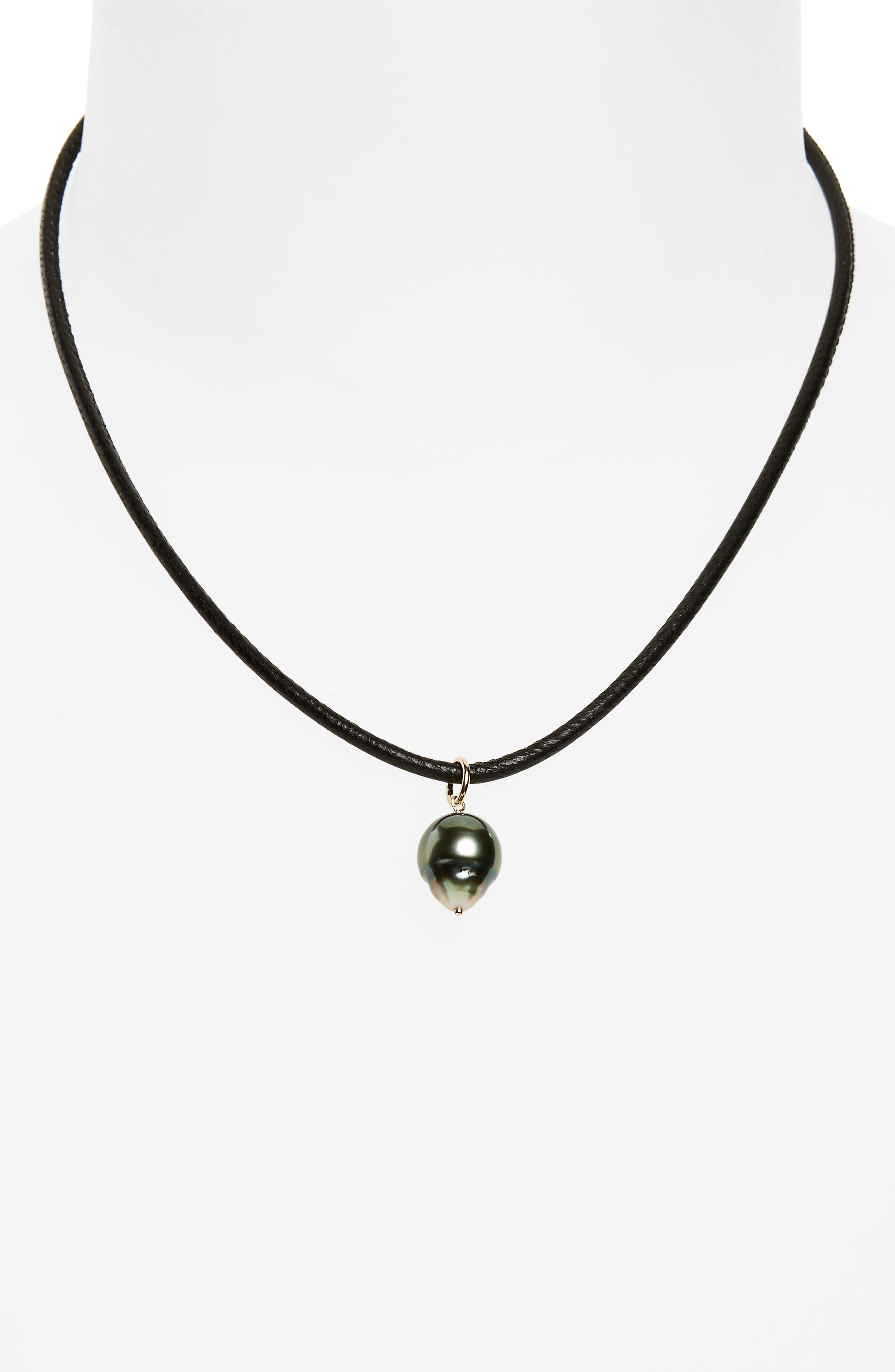 MIZUKI, Black Sea of Beauty Leather & Pearl Choker, Main thumbnail 1, color, 710