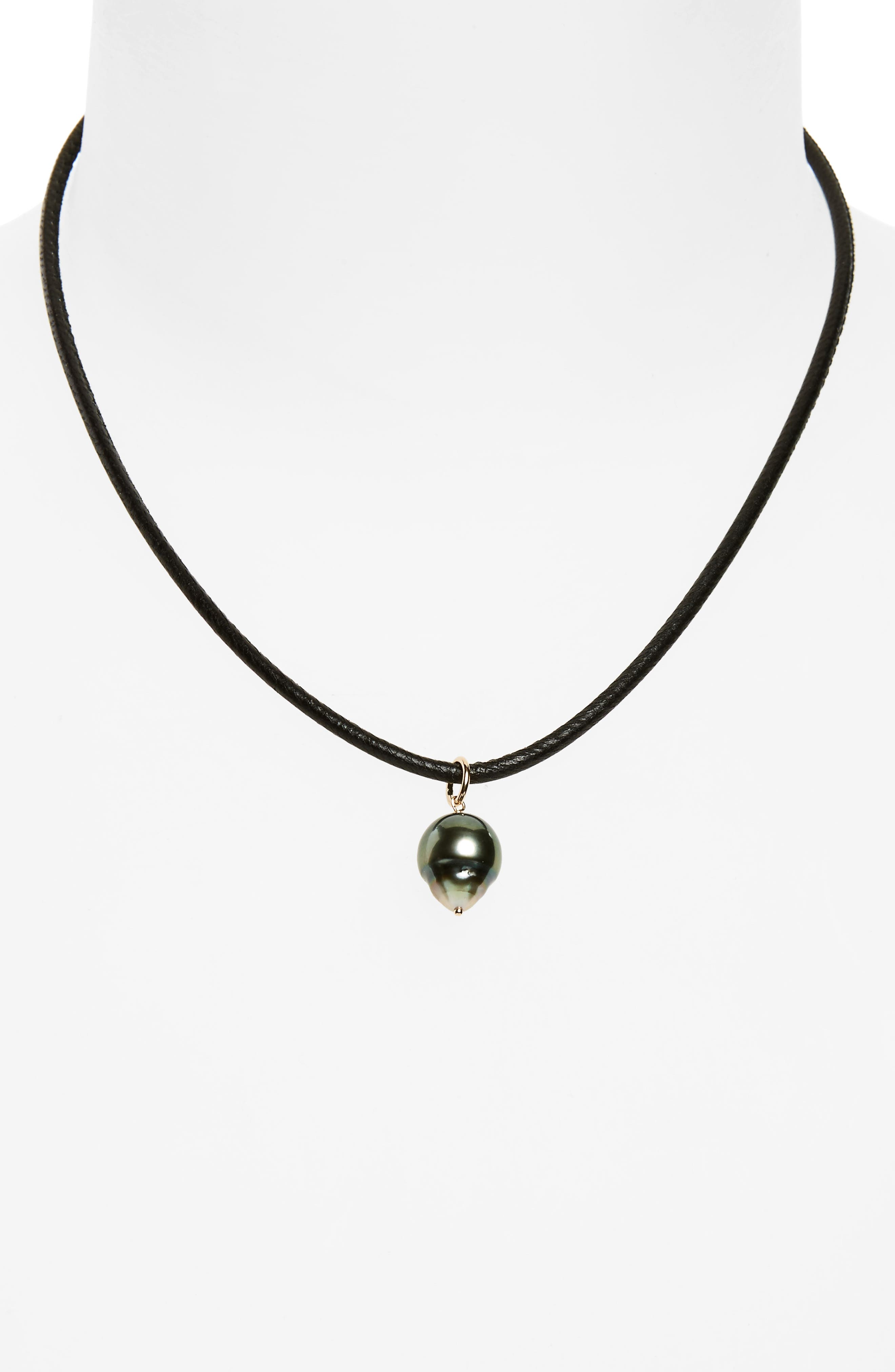 MIZUKI Black Sea of Beauty Leather & Pearl Choker, Main, color, 710