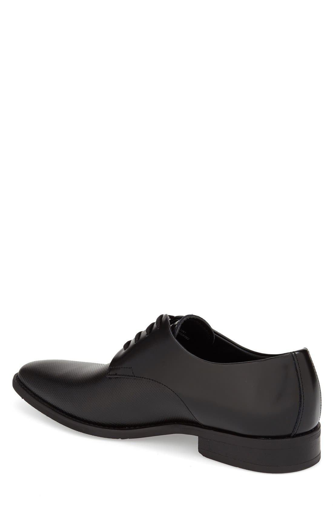 CALVIN KLEIN, 'Ramses' Plain Toe Derby, Alternate thumbnail 2, color, BLACK LEATHER