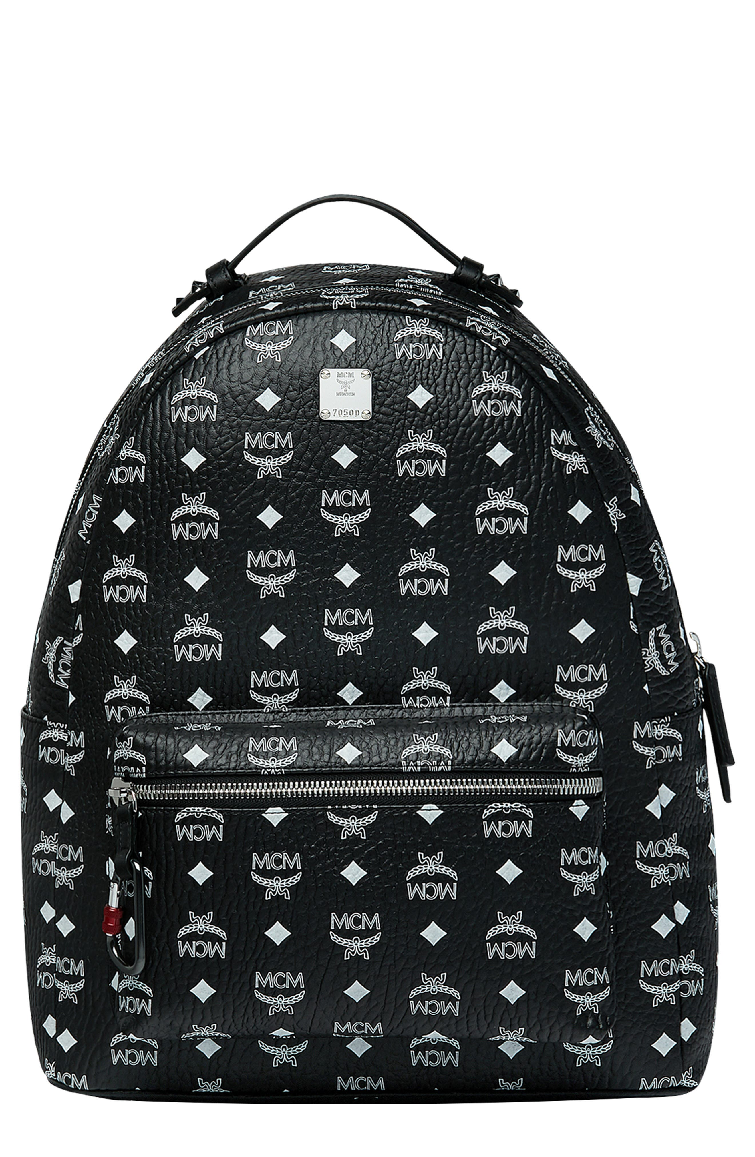 MCM Stark Visetos Faux Leather Backpack, Main, color, WHITE LOGO BLACK