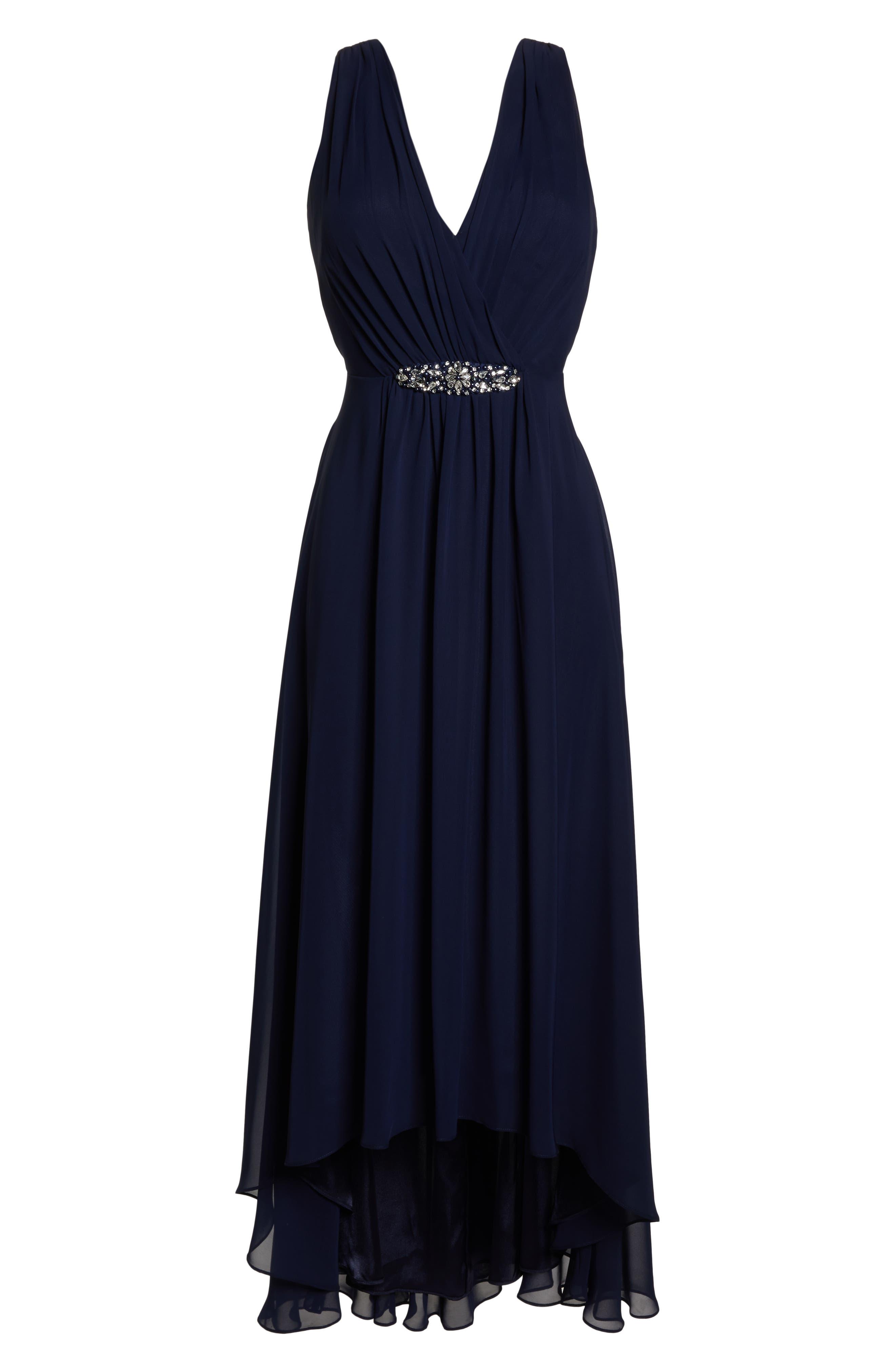 ELIZA J, Wrap Look High/Low Chiffon Dress, Alternate thumbnail 7, color, NAVY