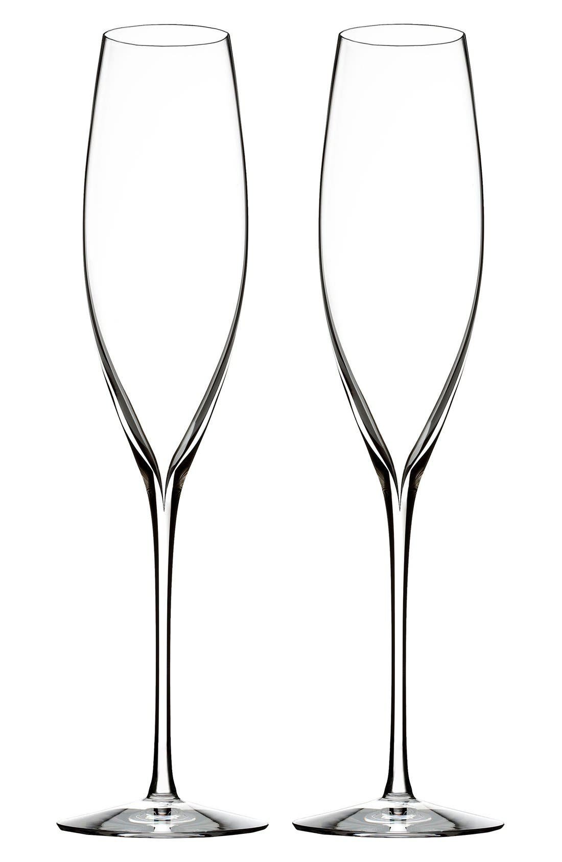WATERFORD, 'Elegance' Fine Crystal Champagne Flutes, Main thumbnail 1, color, CLEAR