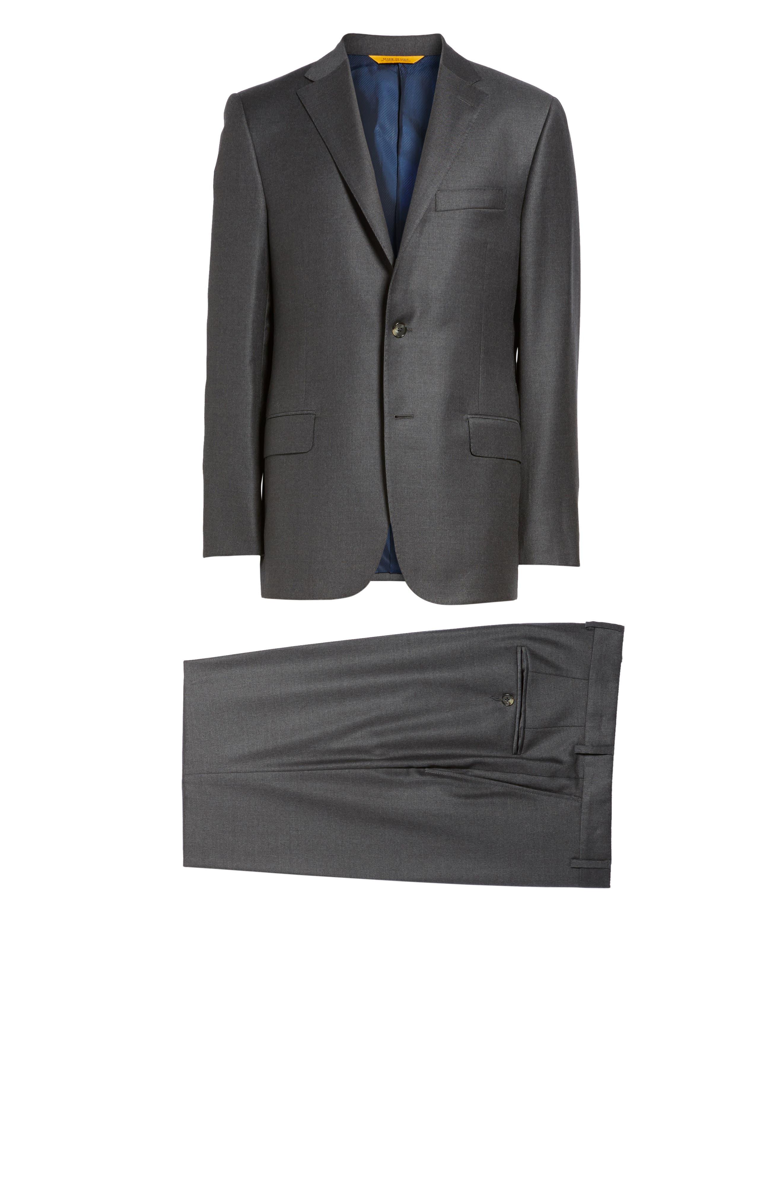 HICKEY FREEMAN, Classic B Fit Loro Piana Wool Suit, Alternate thumbnail 8, color, GREY