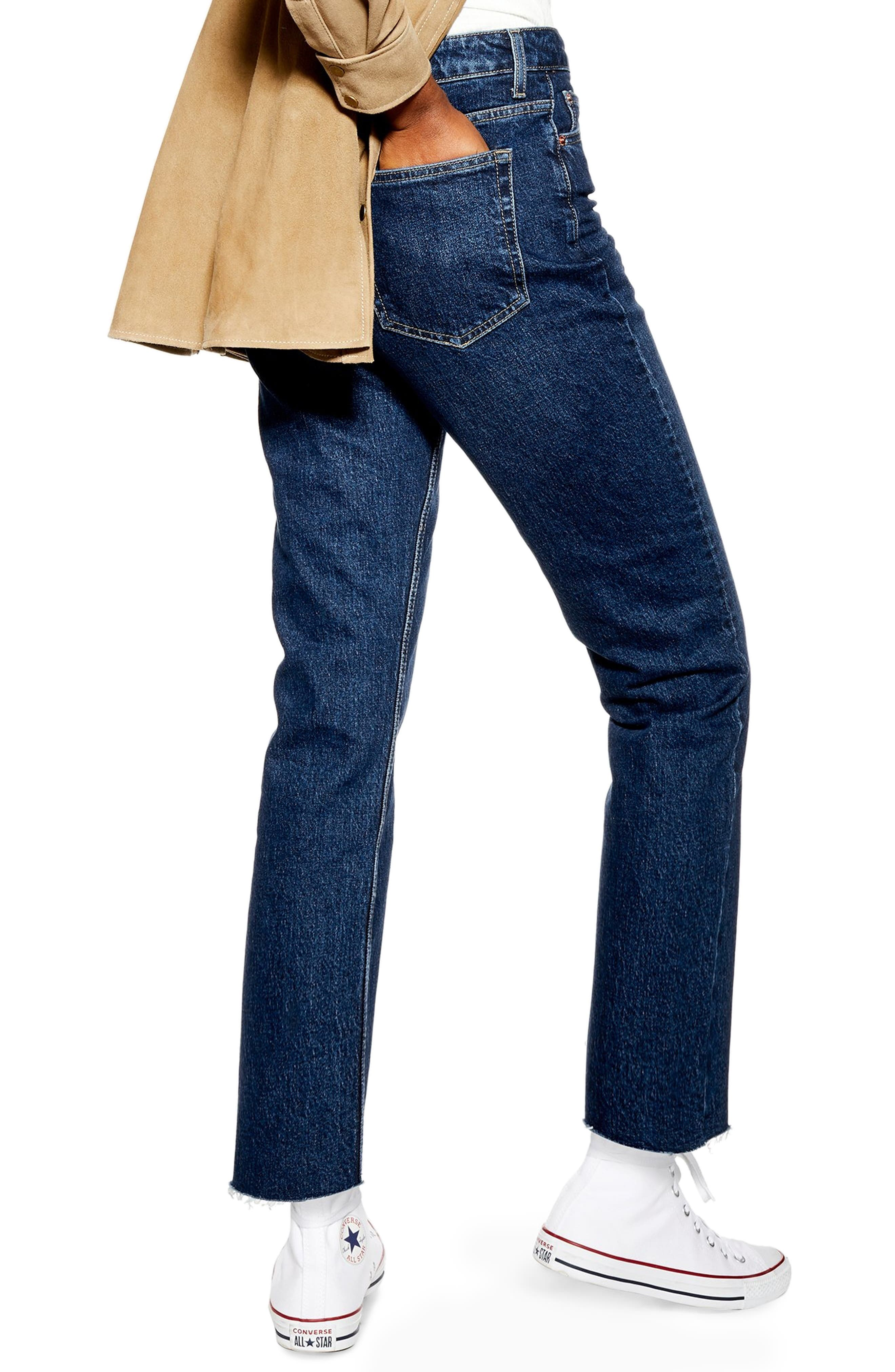 TOPSHOP, Raw Hem Straight Leg Jeans, Alternate thumbnail 2, color, INDIGO