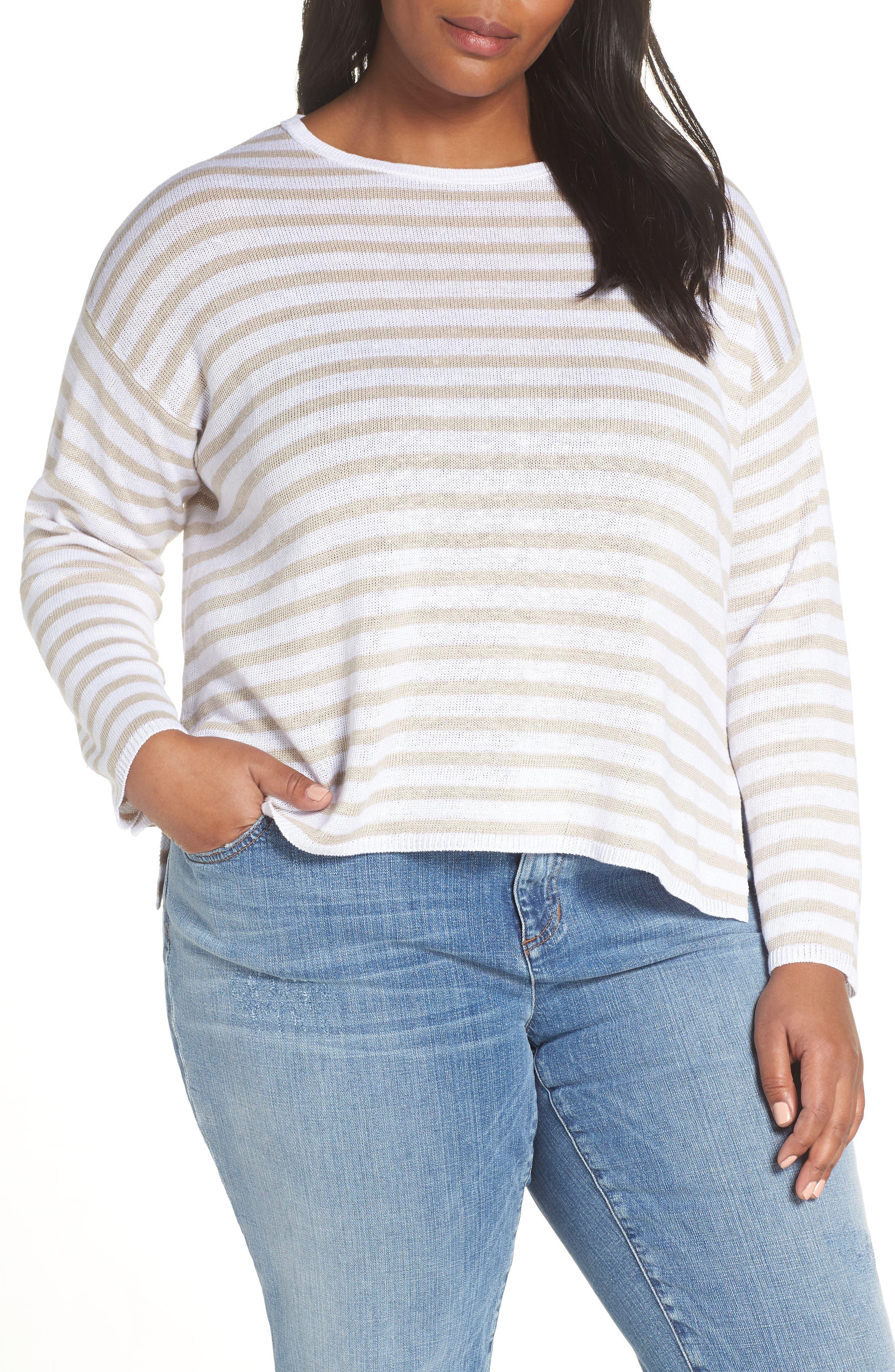 EILEEN FISHER, Stripe Organic Linen Sweater, Main thumbnail 1, color, WHITE NATURAL