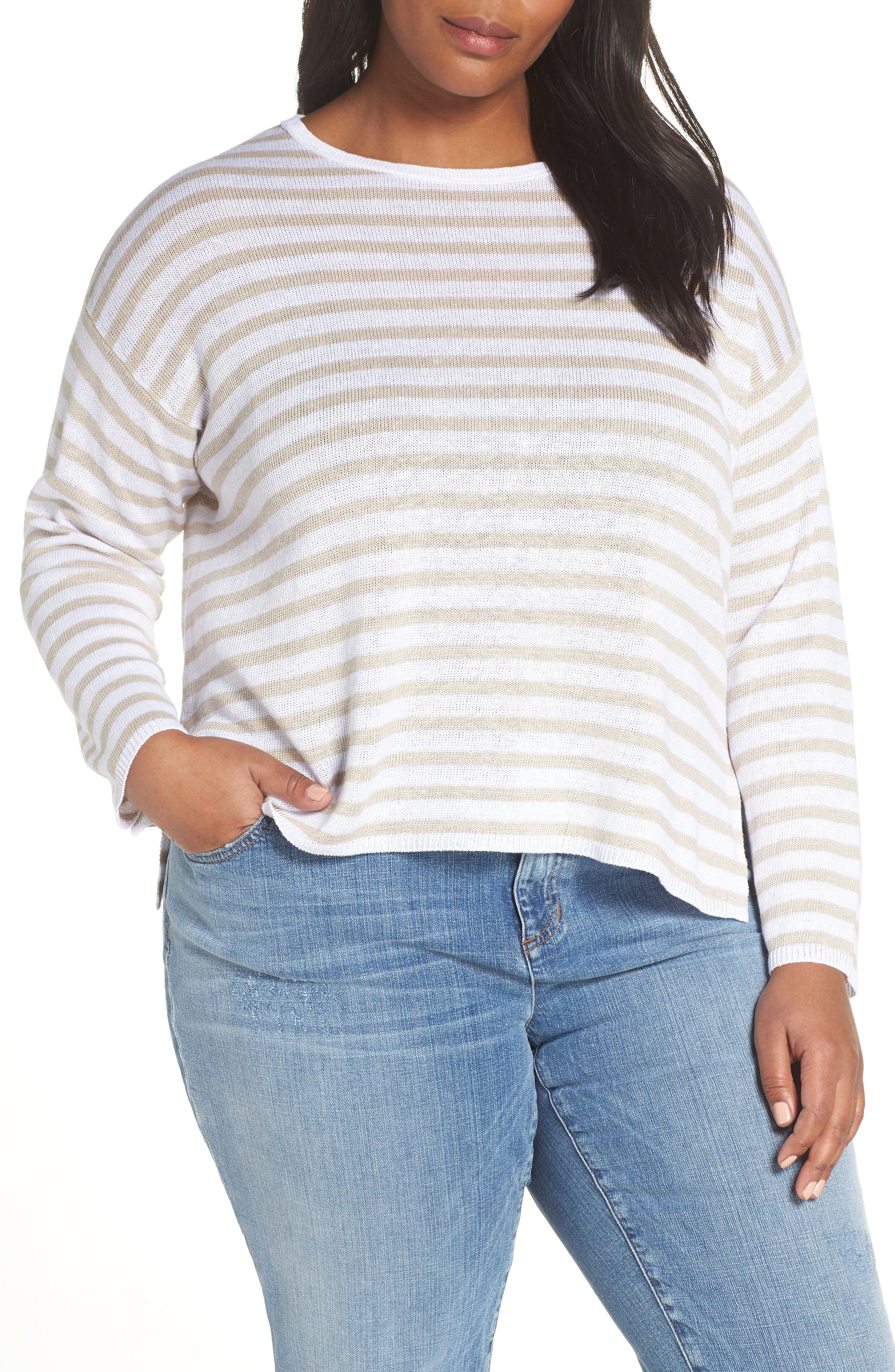 EILEEN FISHER Stripe Organic Linen Sweater, Main, color, WHITE NATURAL