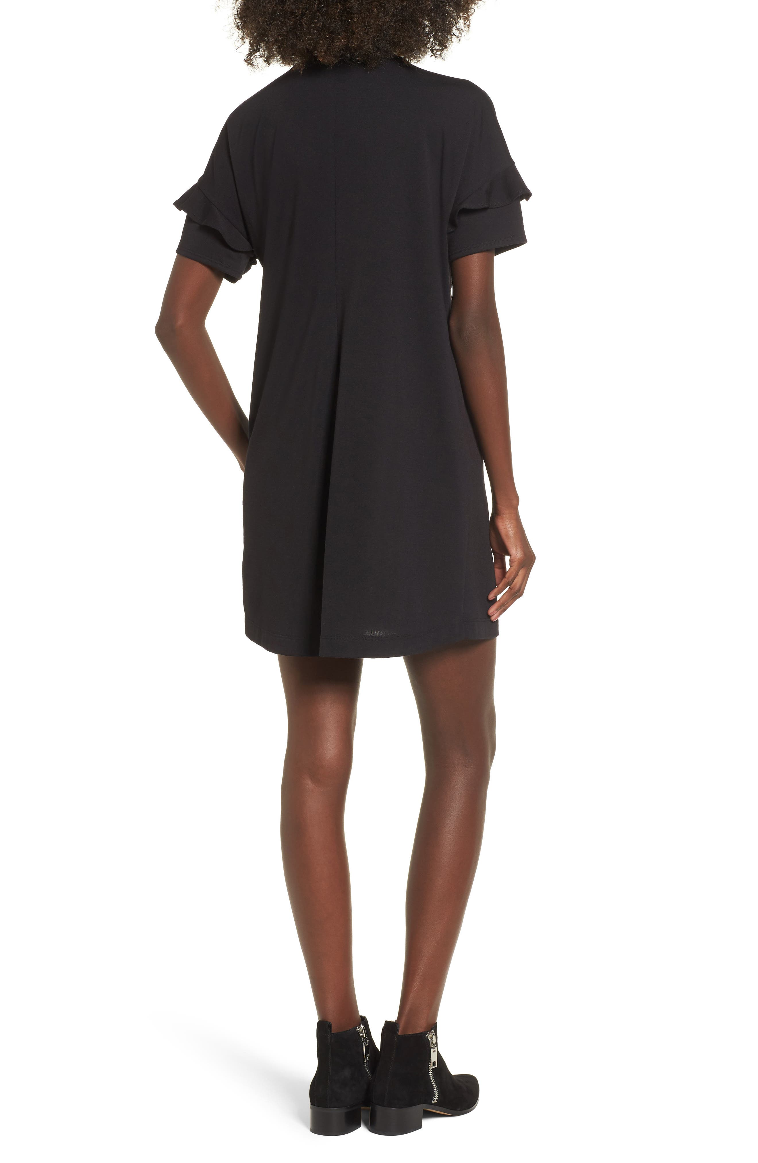 ---, Ruffle Sleeve T-Shirt Dress, Alternate thumbnail 2, color, 001