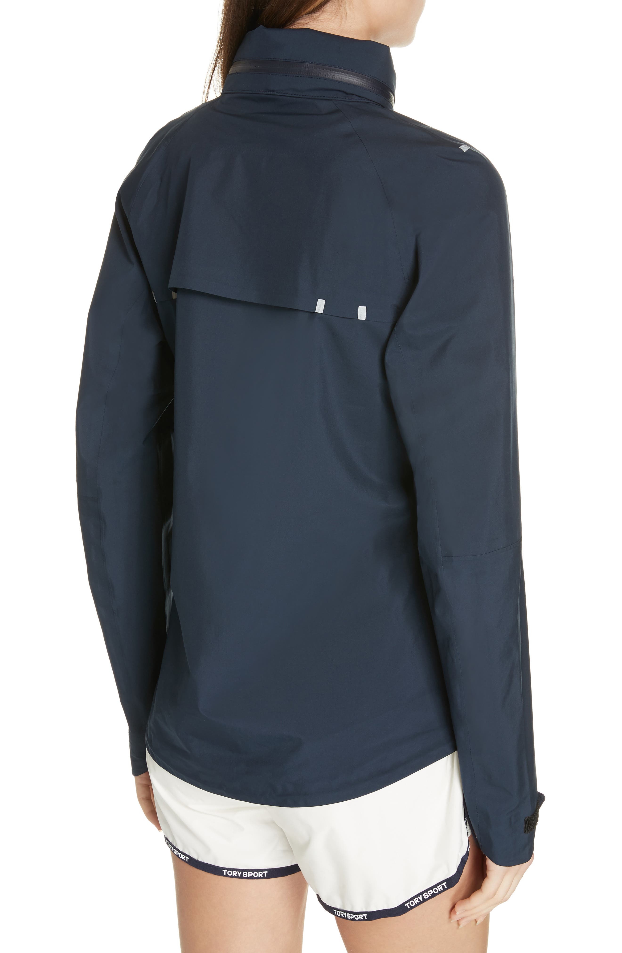 TORY SPORT, All Weather Run Jacket, Alternate thumbnail 2, color, TORY NAVY/ WHITE SNOW