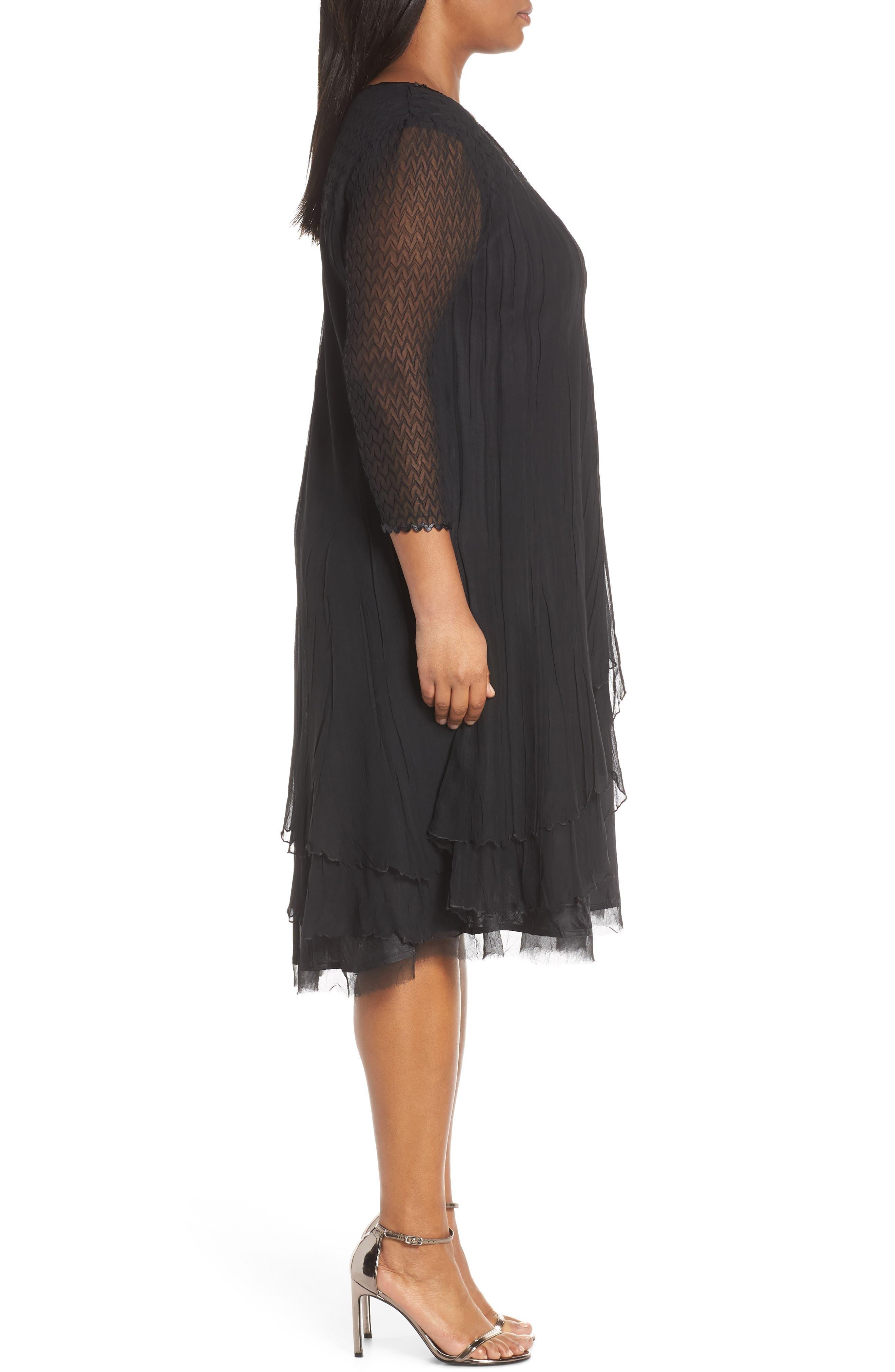 KOMAROV, Beaded Neck Chiffon Dress, Alternate thumbnail 4, color, 001