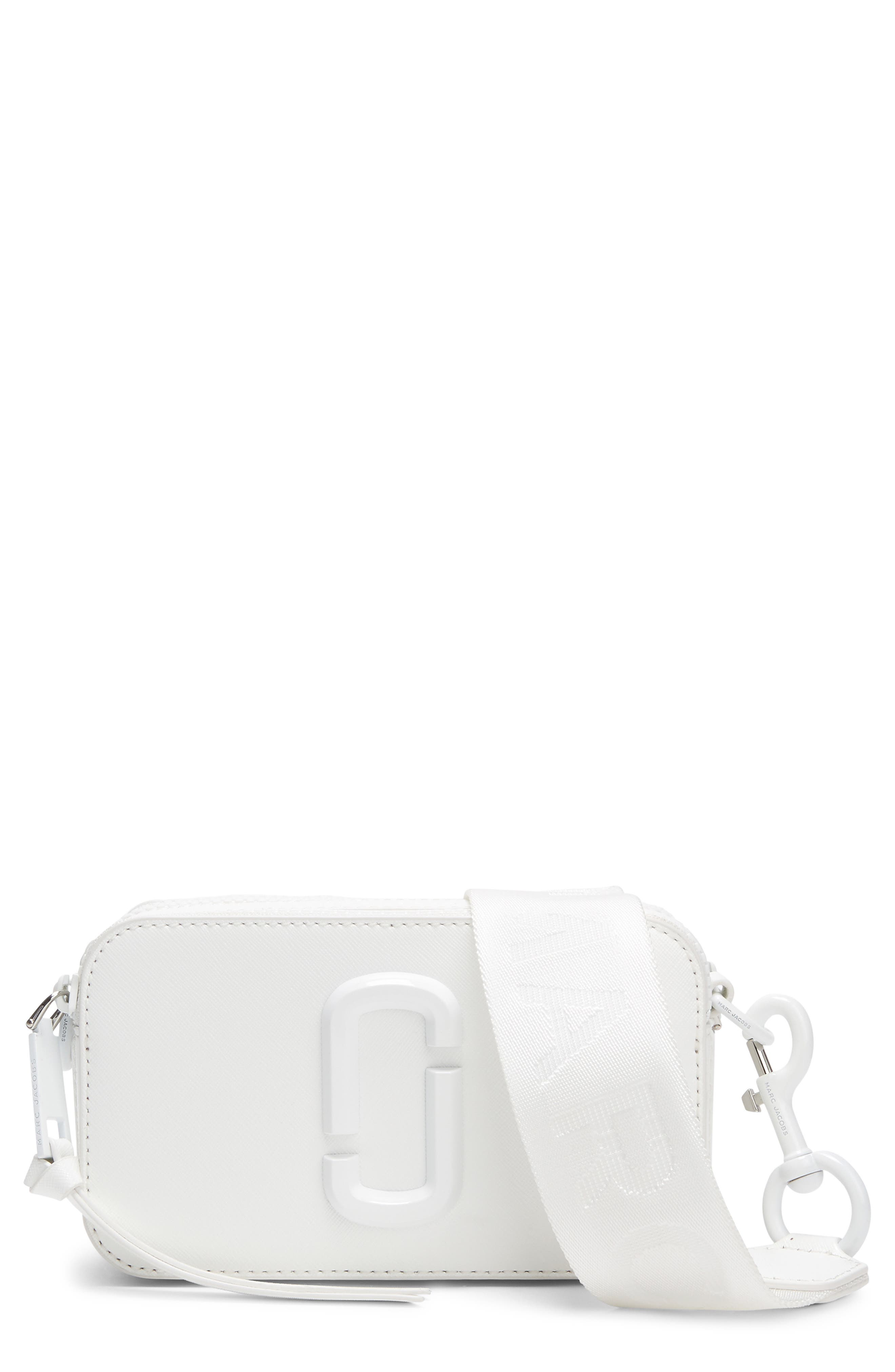 MARC JACOBS Snapshot Leather Crossbody Bag, Main, color, MOON WHITE