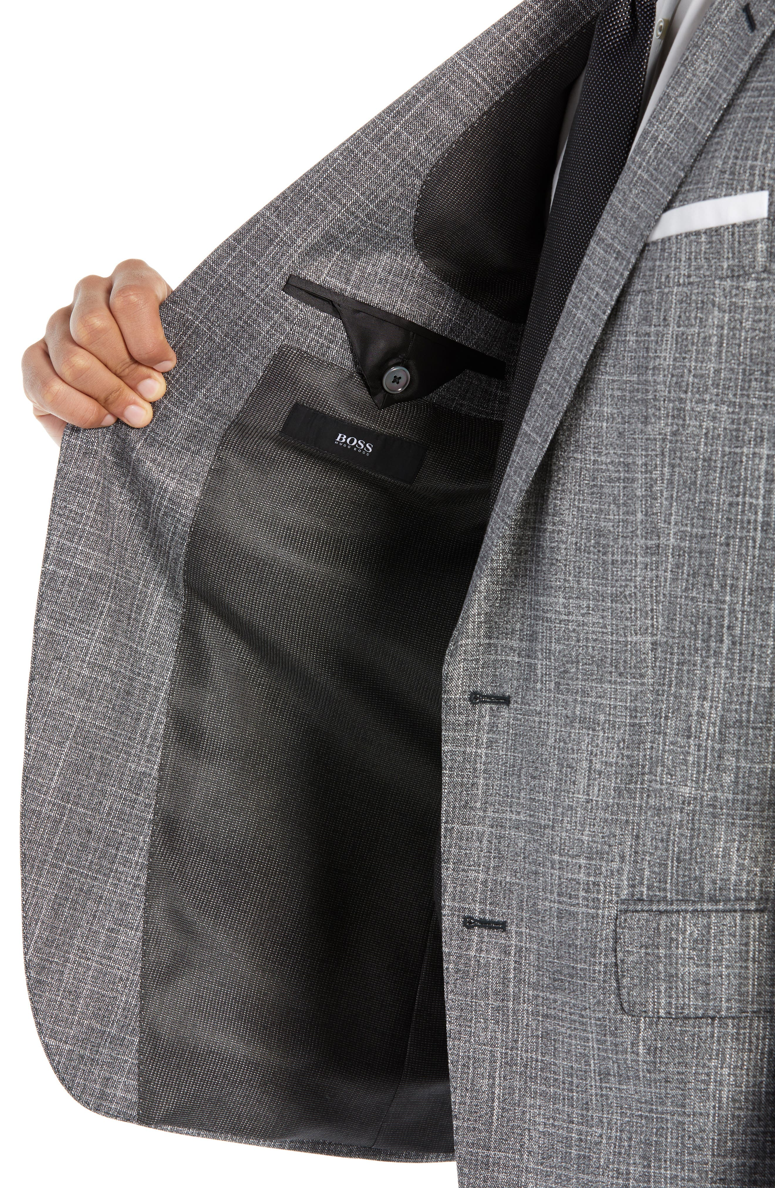 BOSS, Hutson/Gander Slim Fit Solid Wool Blend Suit, Alternate thumbnail 4, color, MEDIUM GREY