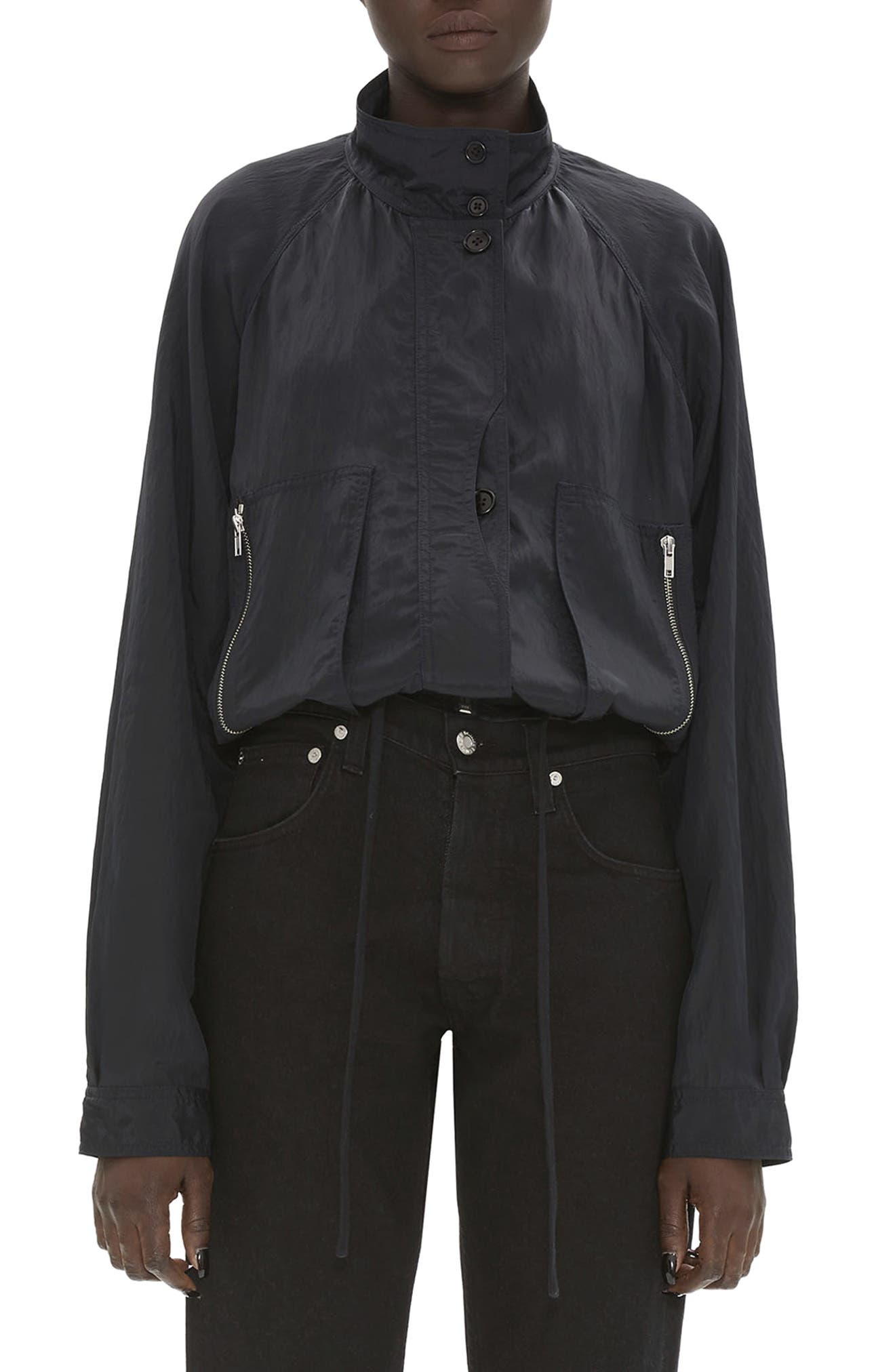 HELMUT LANG, Parachute Short Trench Jacket, Main thumbnail 1, color, BLACK
