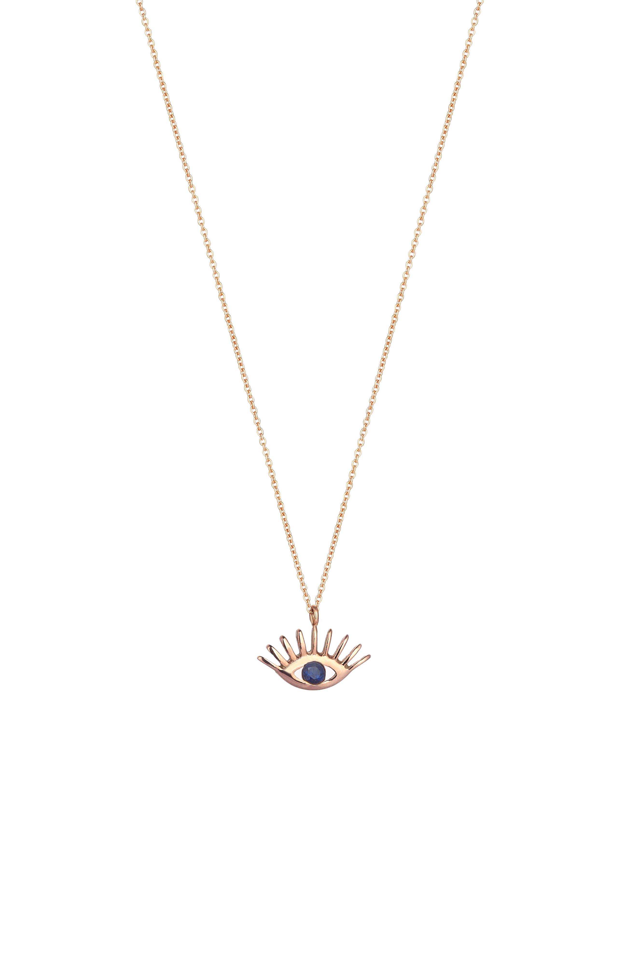 KISMET BY MILKA, Sapphire Pendant Necklace, Main thumbnail 1, color, ROSE GOLD