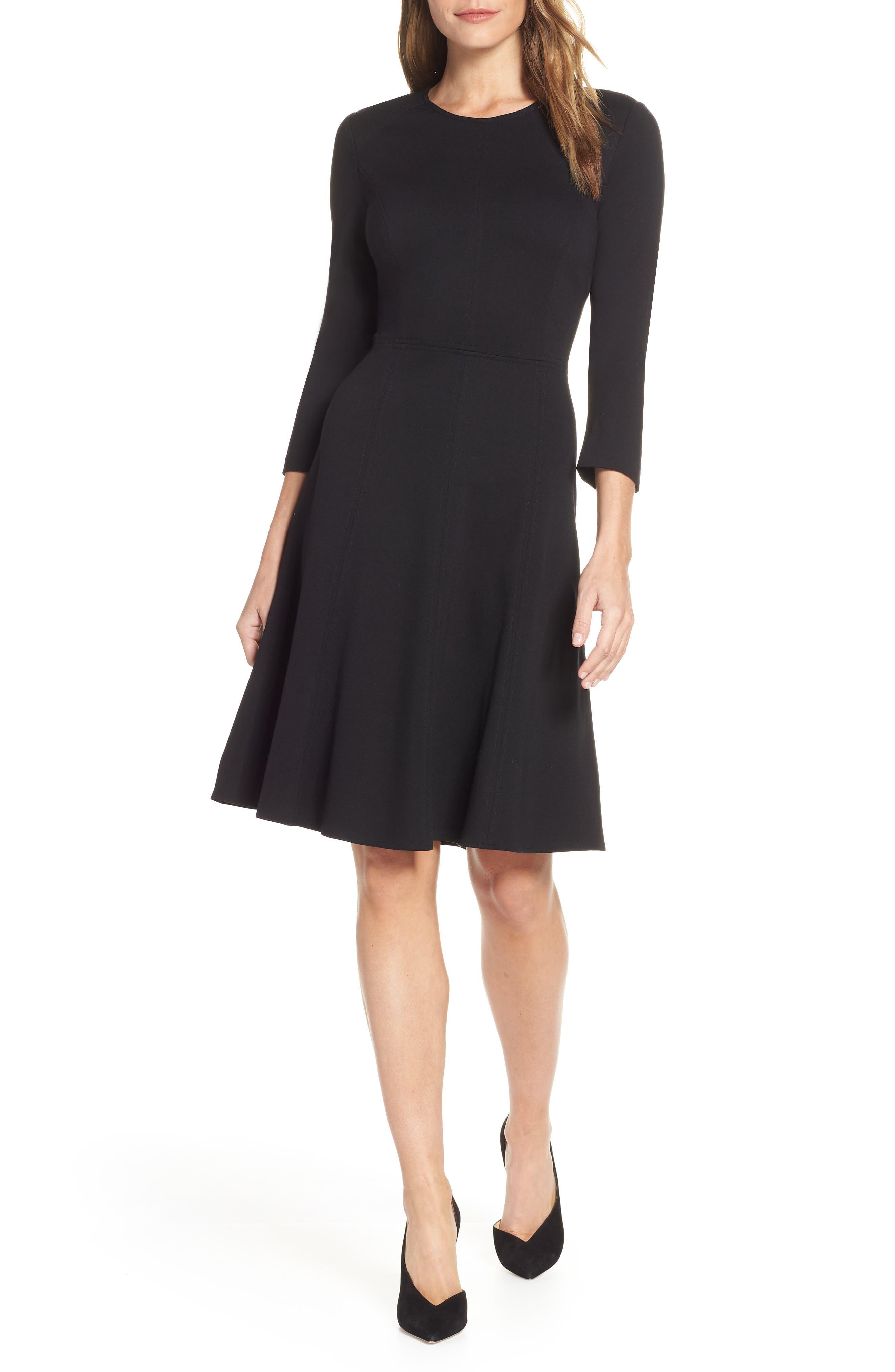 ELIZA J Seamed Fit & Flare Dress, Main, color, BLACK
