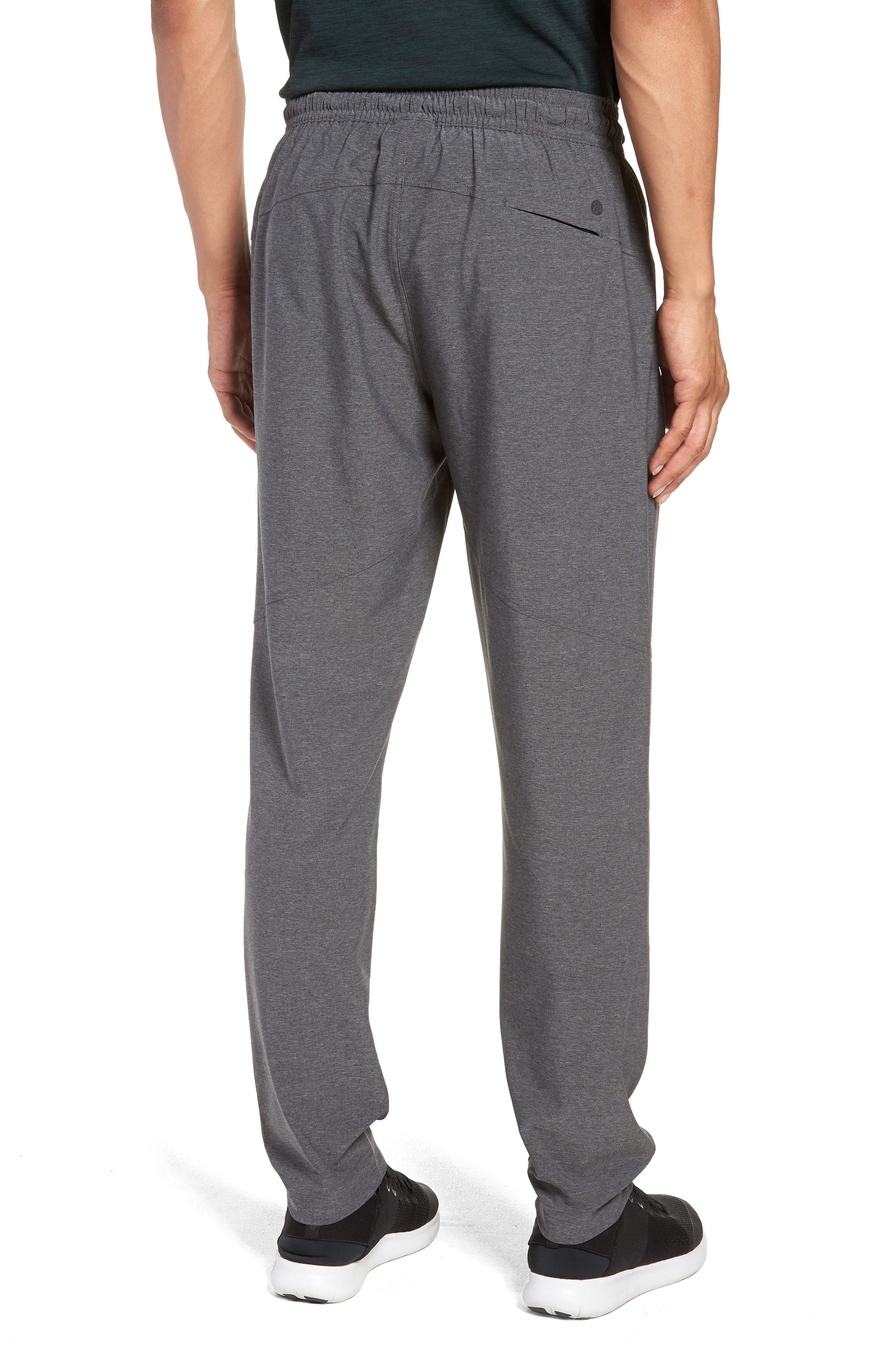 ZELLA, Tapered Stretch Track Pants, Alternate thumbnail 2, color, GREY OBSIDIAN MELANGE