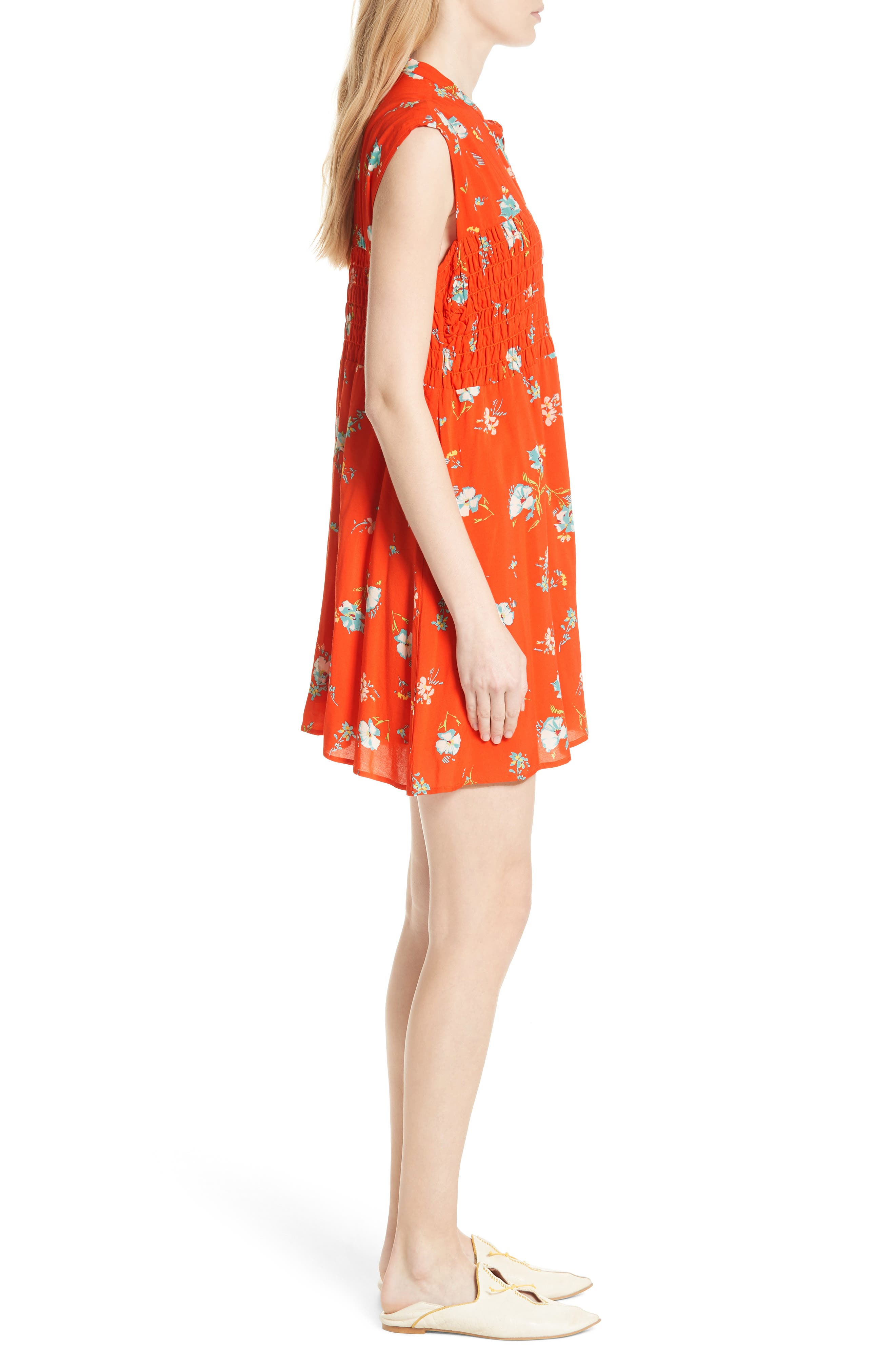 FREE PEOPLE, Greatest Day Smocked Minidress, Alternate thumbnail 4, color, RED