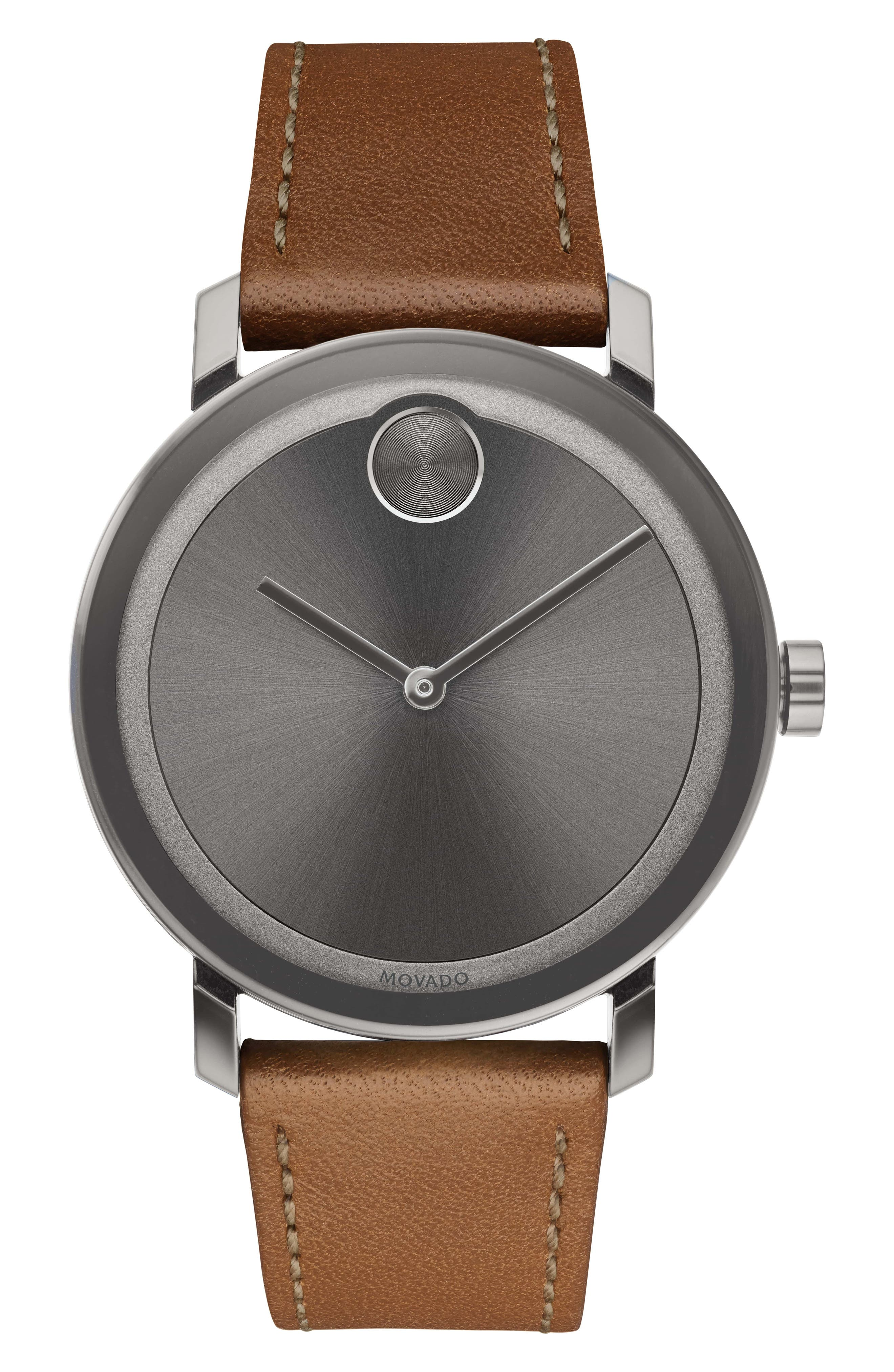 MOVADO Bold Leather Strap Watch, 40mm, Main, color, COGNAC/ GREY