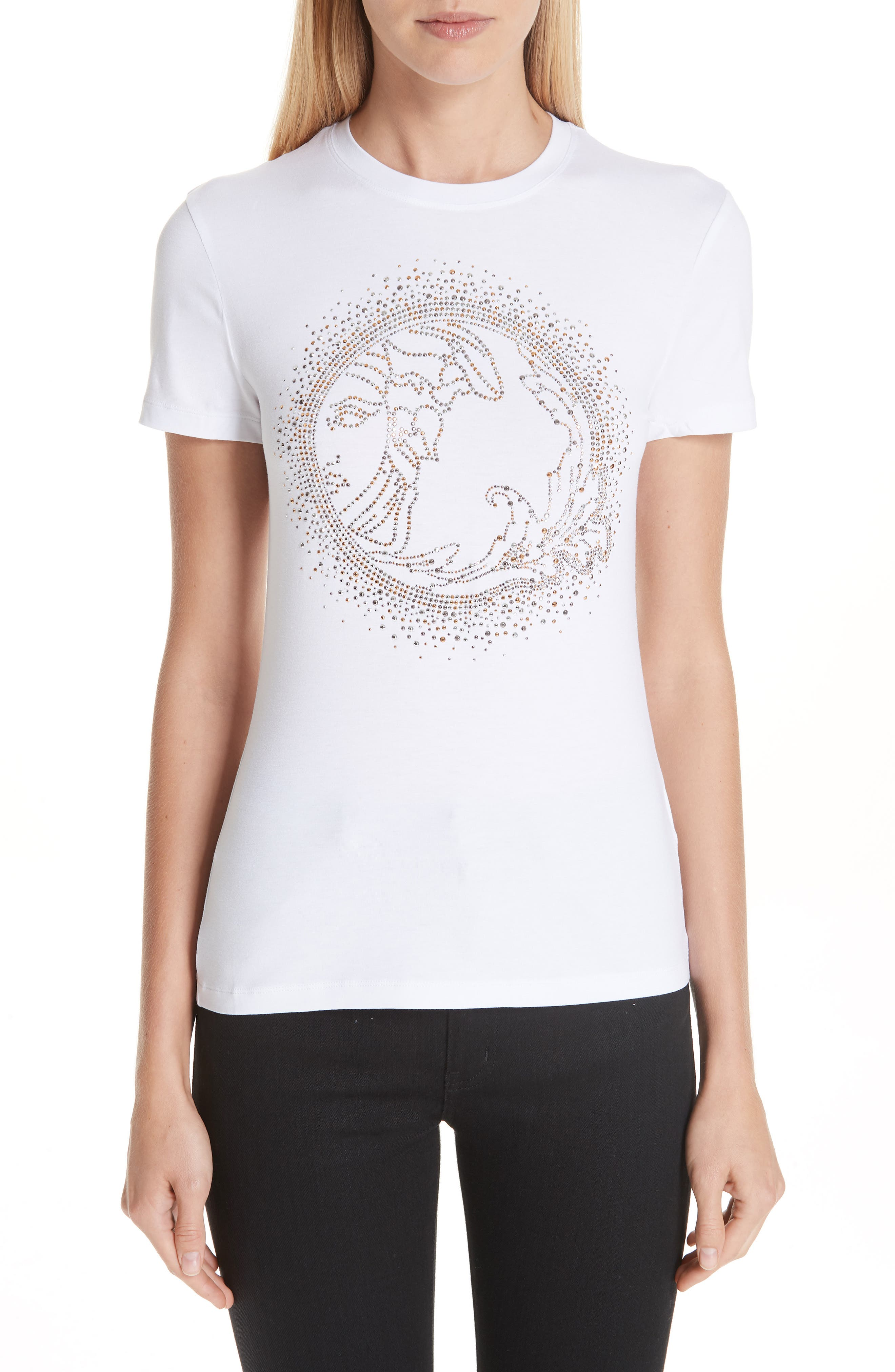 VERSACE COLLECTION, Medusa Crystal Embellished Jersey Tee, Main thumbnail 1, color, 111