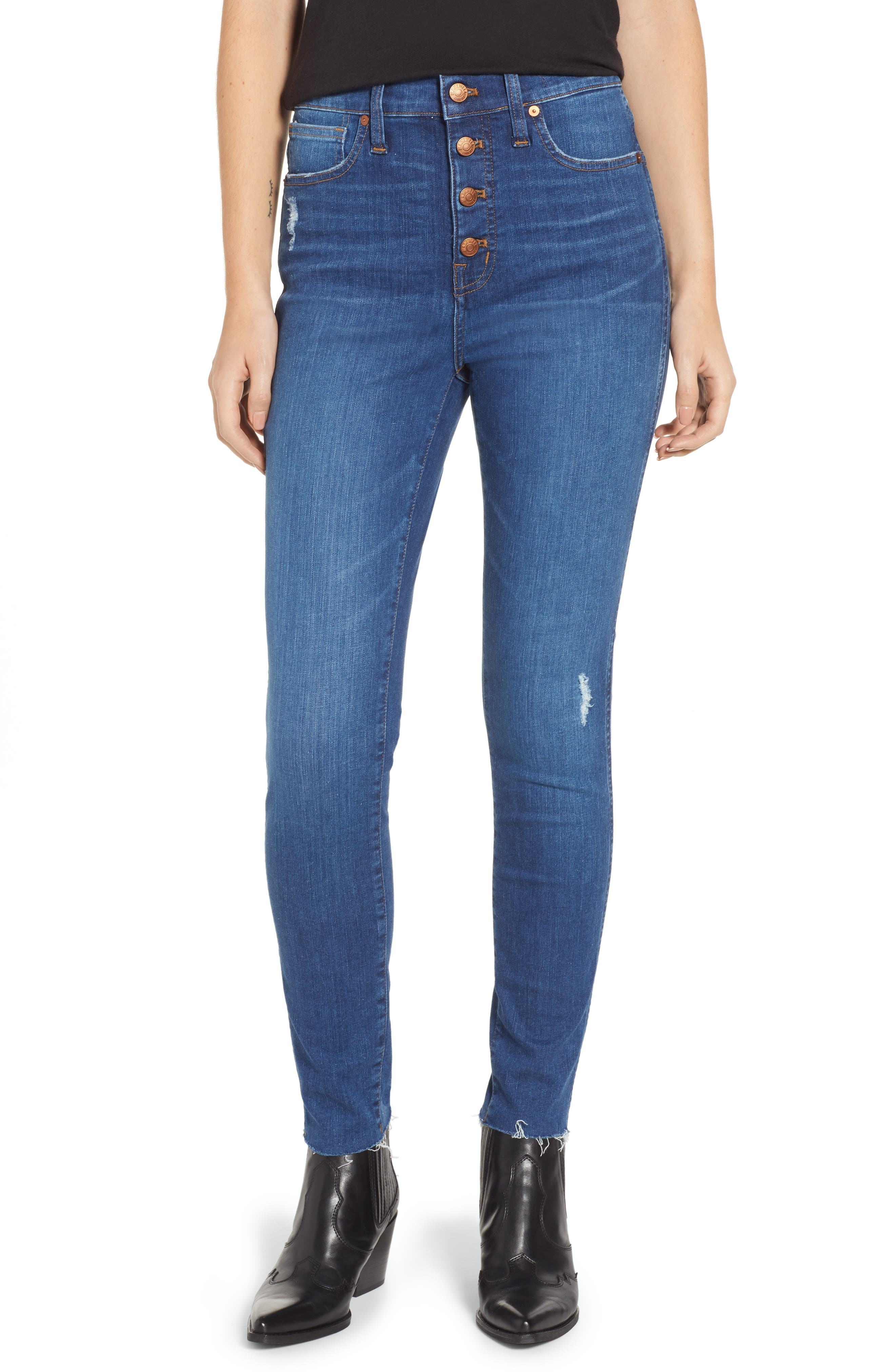 MADEWELL, 10-Inch High Rise Skinny Jeans, Main thumbnail 1, color, HANNA