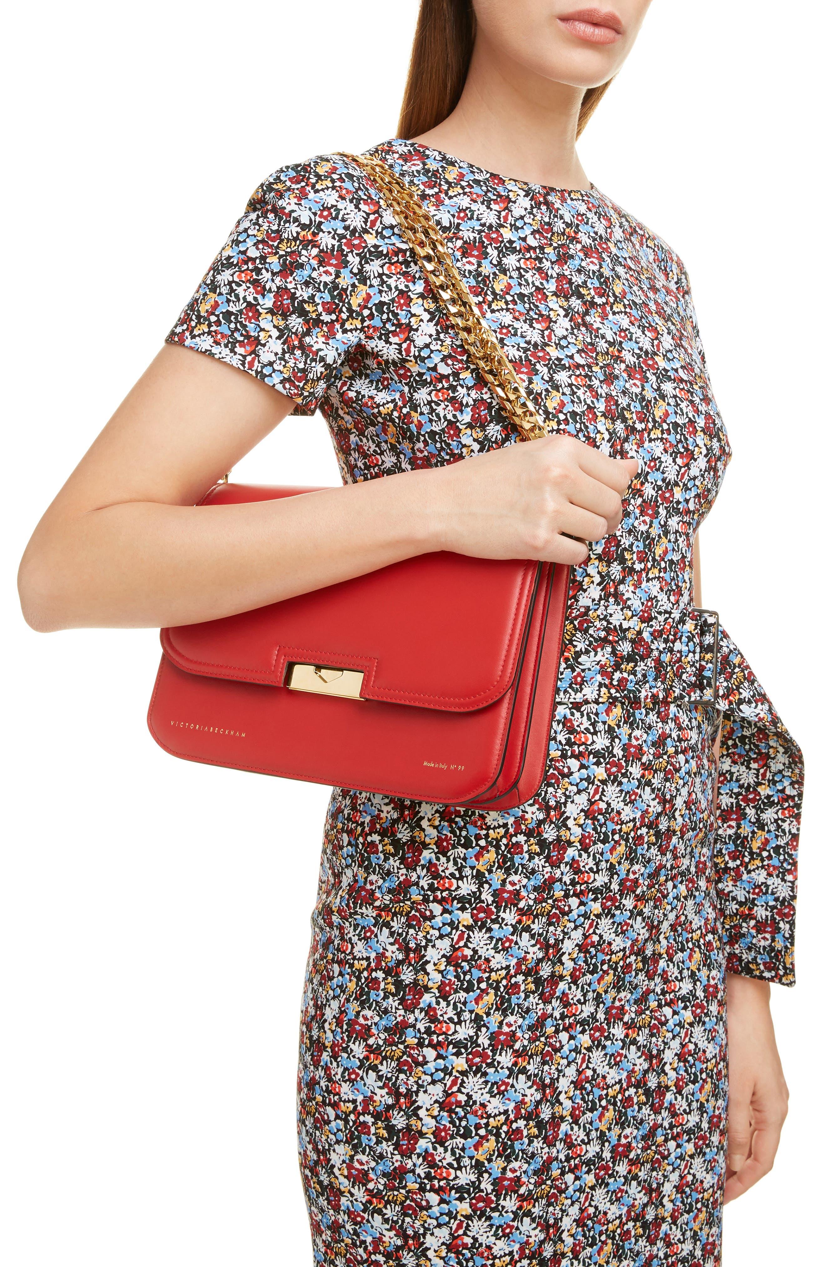 VICTORIA BECKHAM, Eva Leather Shoulder Bag, Alternate thumbnail 2, color, RED